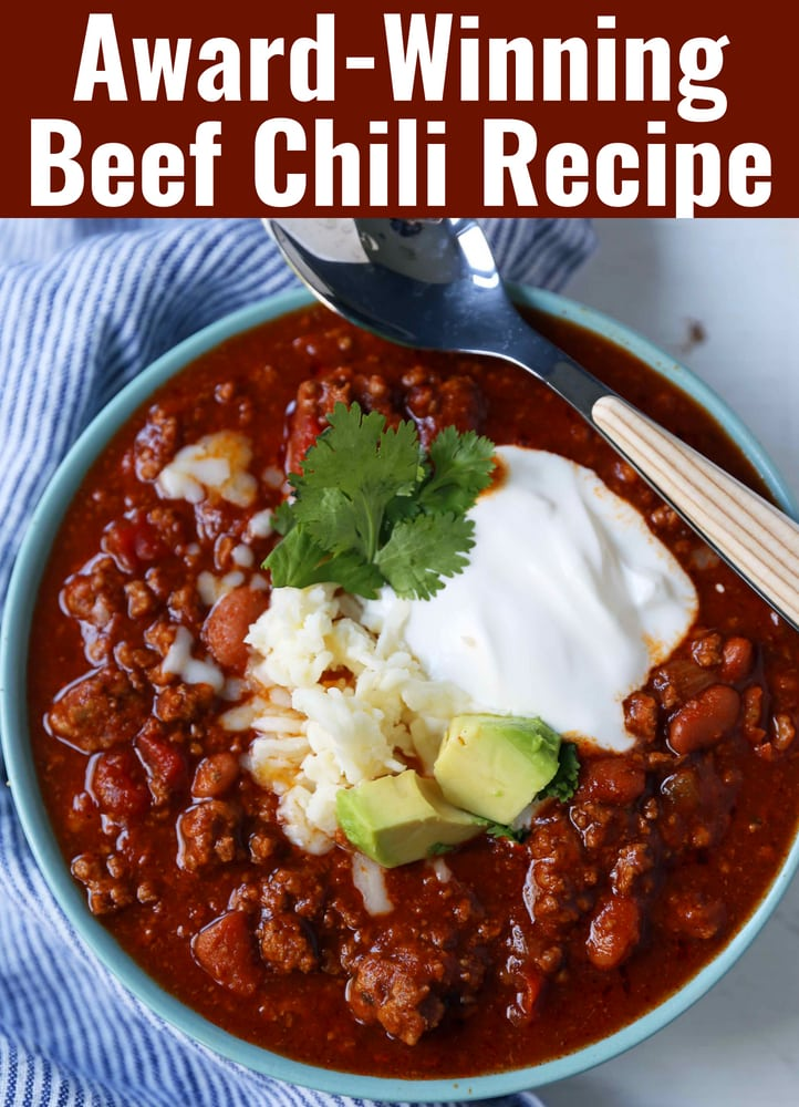 Award-Winning Beef Chili Recipe. Chili Cook-Off Winning Recipe. Beef Chili with secret ingredients. The BEST Beef Chili Recipe. #chili #beefchili #chilicookoff #awardwinningchili