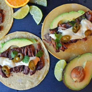 Beef Barbacoa Tacos with Pepper Jack Queso