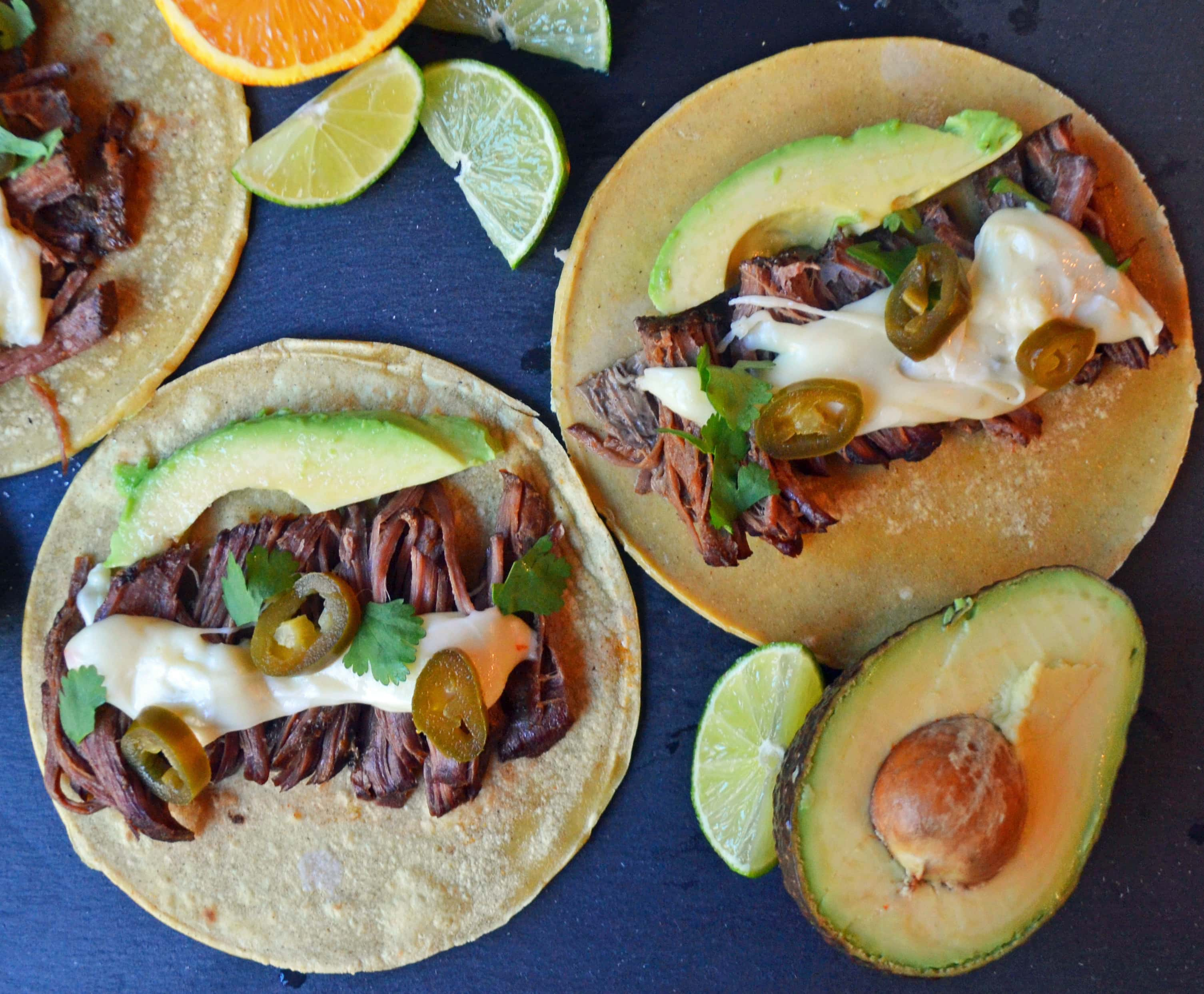 Beef Barbacoa Tacos, Pepper Jack Queso, Queso, Tacos, Beef Tacos, Beef Tacos with Queso