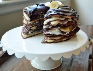 Chocolate Ganache Banana Creme Crepe Cake, Modern Honey