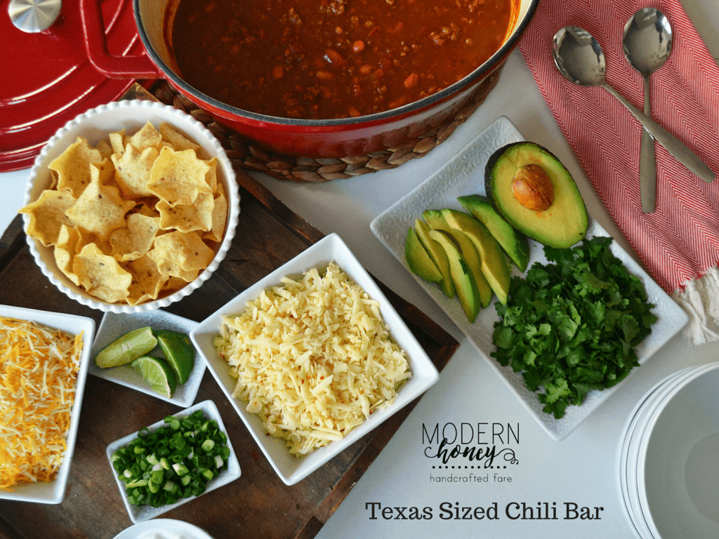 Award Winning Texas Sized Chili Bar with all of the favorite toppings. Two secret ingredients that set this chili apart from the rest. www.modernhoney.com