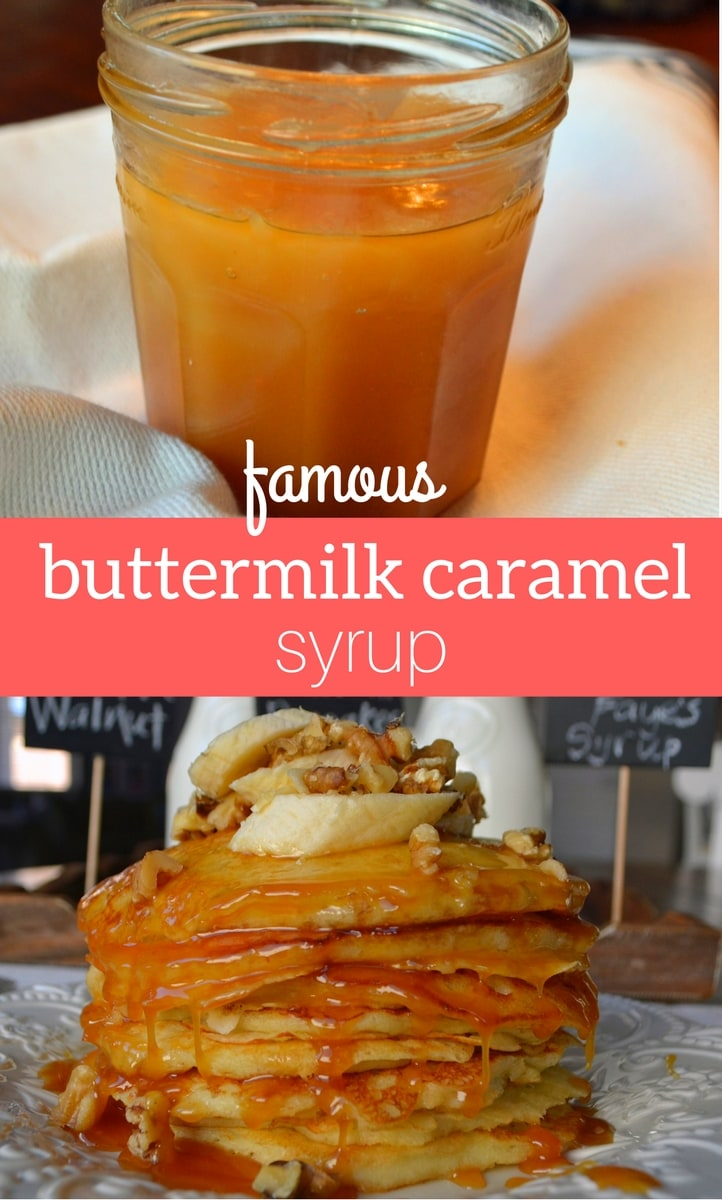 Famous buttermilk syrup recipe. Yummy caramel syrup recipe that has been passed down from generation to generation. A warm, buttery caramel syrup that goes perfectly on pancakes and waffles. www.modernhoney.com