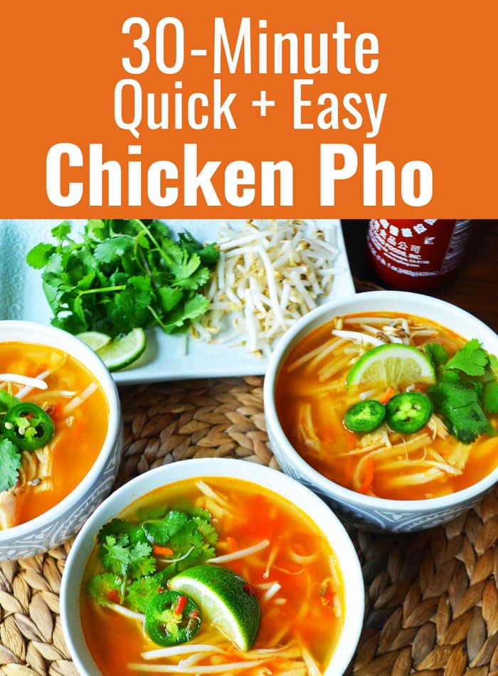 30-minute Chicken Pho Recipe. How to make quick and easy pho. An easy Vietnamese chicken soup that is healthy and delicious! www.modernhoney.com #pho #chickenpho