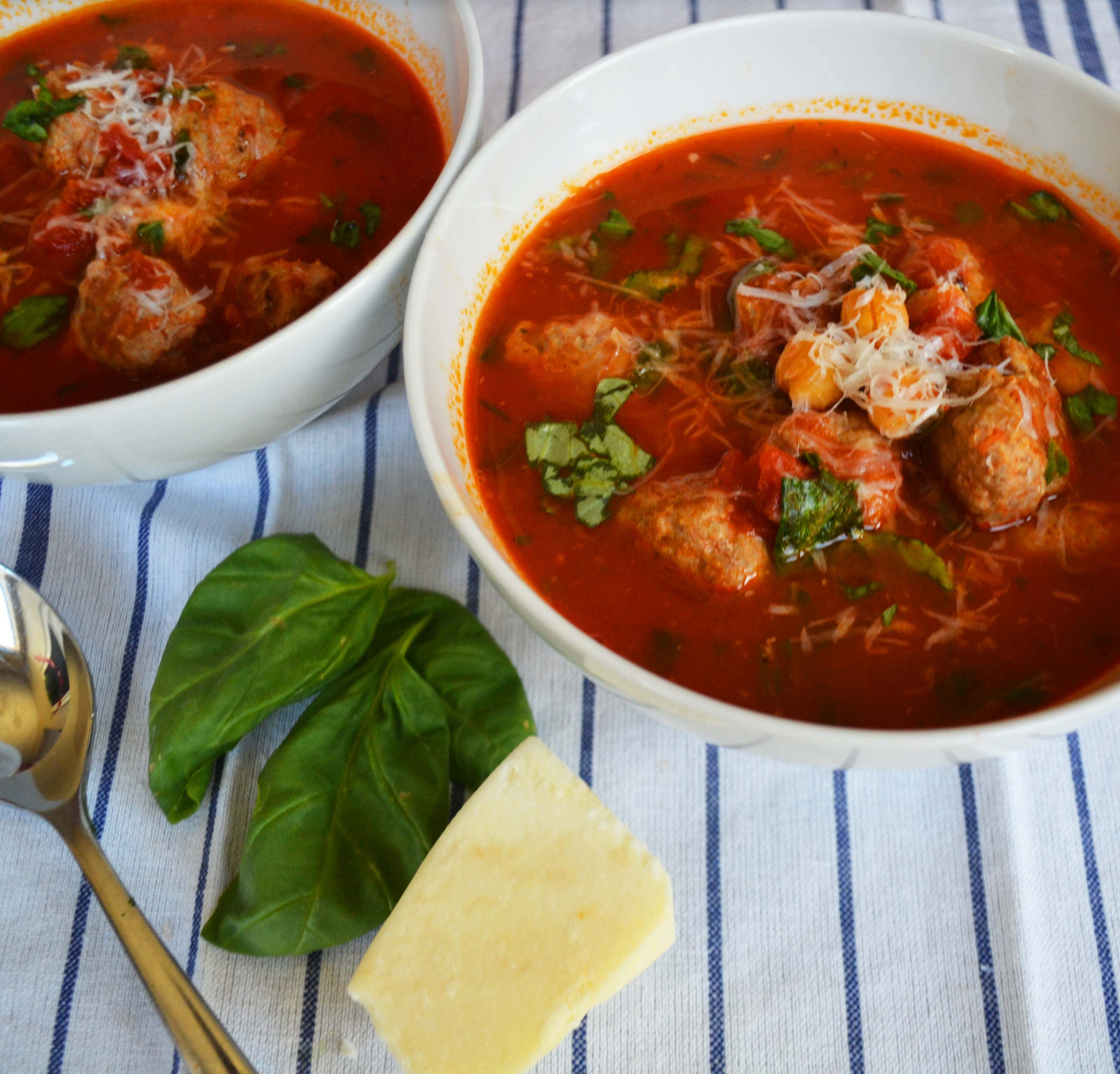 Taste of Italy Healthy Meatball Soup by Modern Honey - www.modernhoney.com
