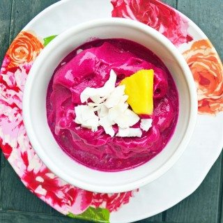 Tropical Dragonfruit Pitaya Smoothie Bowl by Modern Honey - www.modernhoney.com