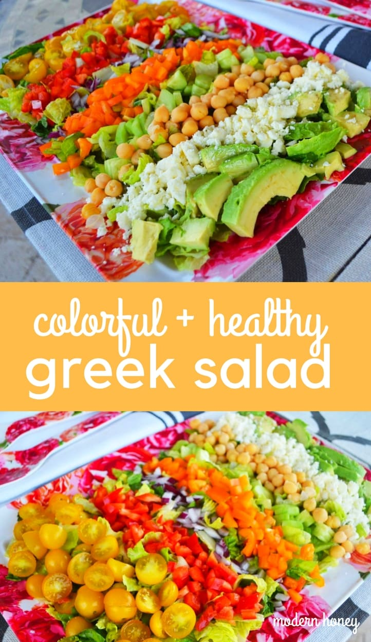 Color Me Pretty GREEK Salad Recipe. How to make a vibrant colorful healthy Greek salad. Fresh veggies, feta cheese, garbanazo beans, avocado tossed in a Greek vinaigrette dressing.  A fresh and healthy Greek salad. www.modernhoney.com