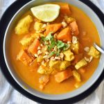 Chicken Sweet Potato Curry. Gluten-free and dairy-free meal. 30-minute meal. Healthy chicken curry dish. www.modernhoney.com #dinner #glutenfree #dairyfree #recipe #dinnerrecipe