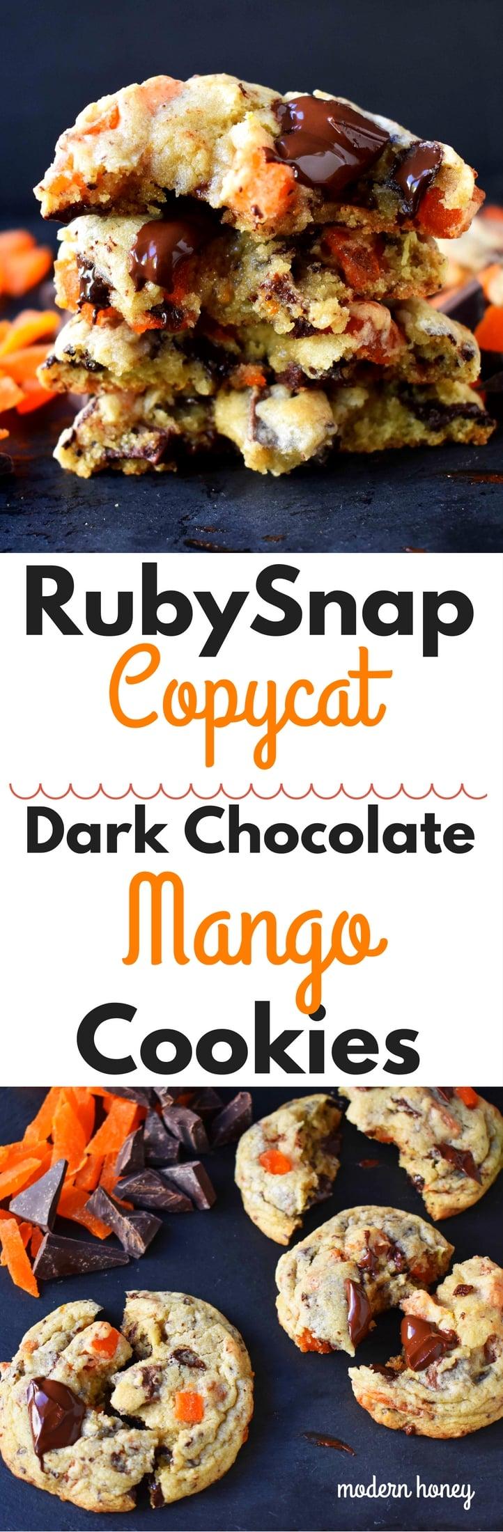 RubySnap Vivianna Dark Chocolate Mango Cookies by Modern Honey. Citrus dough cookies studded with dark chocolate and mango. A highly addicting cookie from this popular bakery. www.modernhoney.com