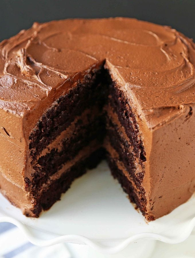 The Best Chocolate Cake Recipe Ever. How to make the perfect chocolate cake with chocolate frosting. 5-star rated chocolate cake recipe. Homemade chocolate cake that comes out perfect every single time. www.modernhoney.com #chocolatecake #cake