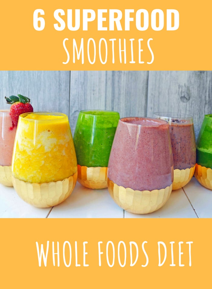 6 Superfood Smoothie Recipes. HEALTHY Smoothie Recipes. A whole foods diet to possibly help autoimmune diseases. www.modernhoney.com #smoothies #smoothie #smoothierecipes