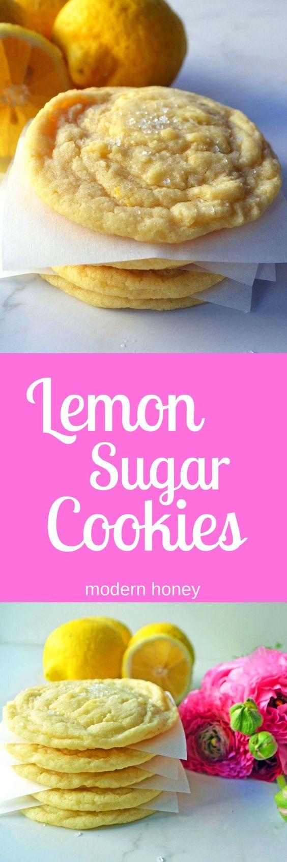 Soft chewy lemon sugar cookies. Best EVER sweet Lemon Cookies. www.modernhoney.com