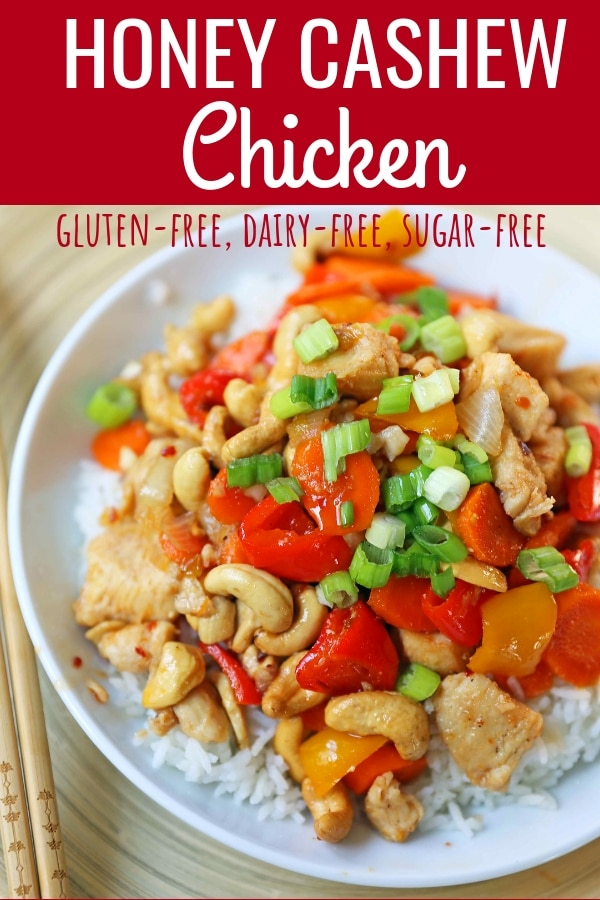 Honey Cashew Chicken. A healthier version of a popular Asian dish -- Cashew Chicken.  Gluten-Free. Dairy-Free. Sugar-Free.  A spicy and sweet chicken with crisp vegetables in a flavorful sauce.  www.modernhoney.com #honeycashewchicken #cashewchicken #chinesechicken #asianfood