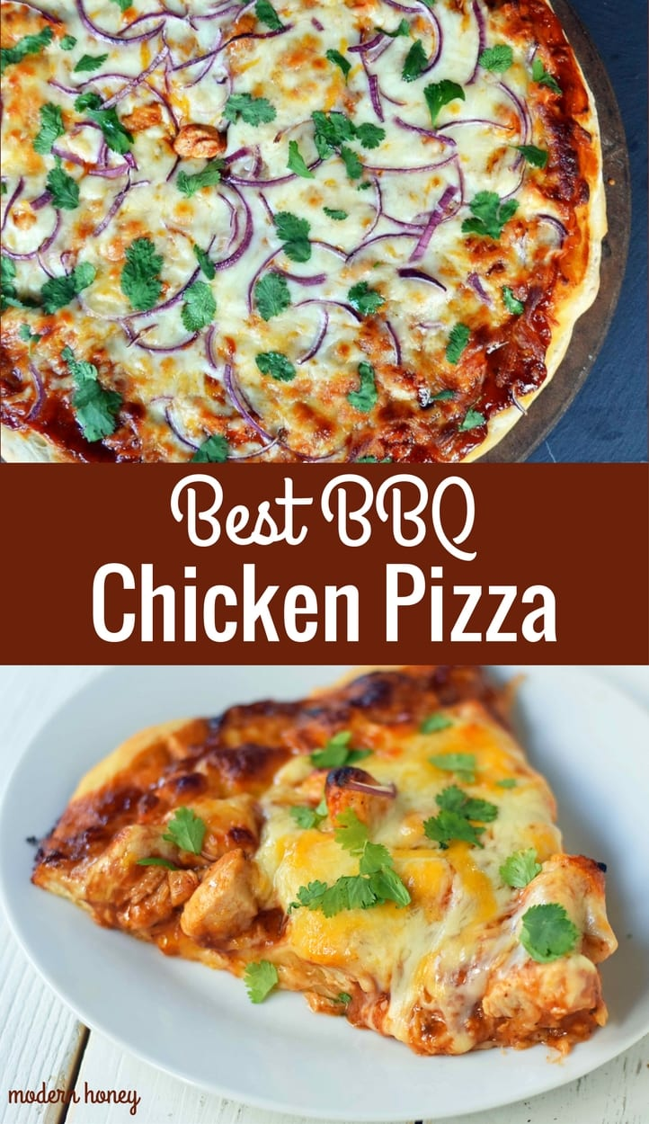 BBQ Chicken Pizza made with an easy homemade pizza crust, BBQ Ranch sauce, cheddar cheese, mozzarella cheese, chicken, red onion, and a touch of fresh cilantro. The BEST BBQ CHICKEN PIZZA. www.modernhoney.com