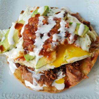 Chorizo Huevos Rancheros Tostadas by Modern Honey - www.modernhoney.com