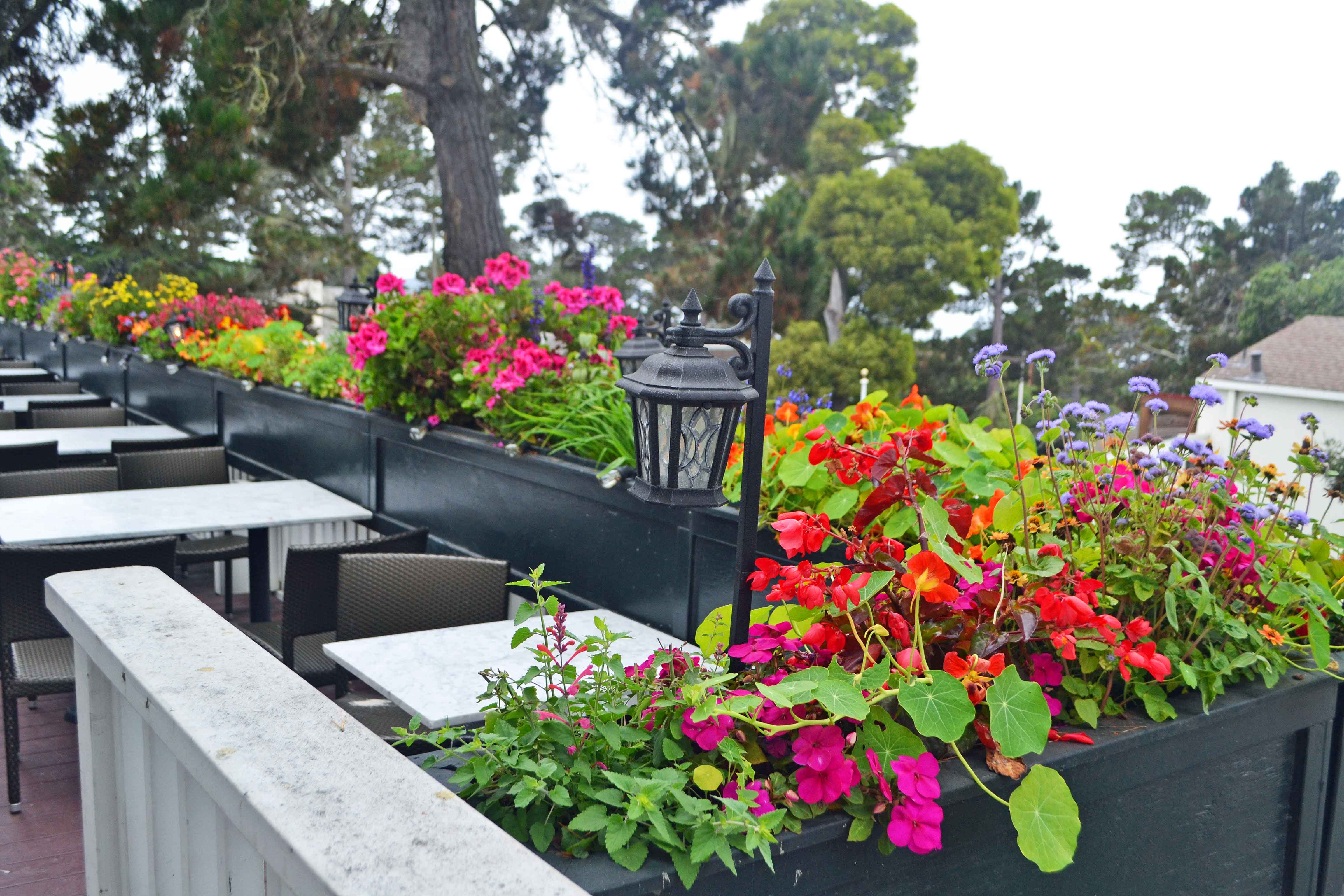 California Pacific Coast Highway 1 Road Trip Guide. Downtown Carmel by the Sea. Il Fornaio Flower Boxes.