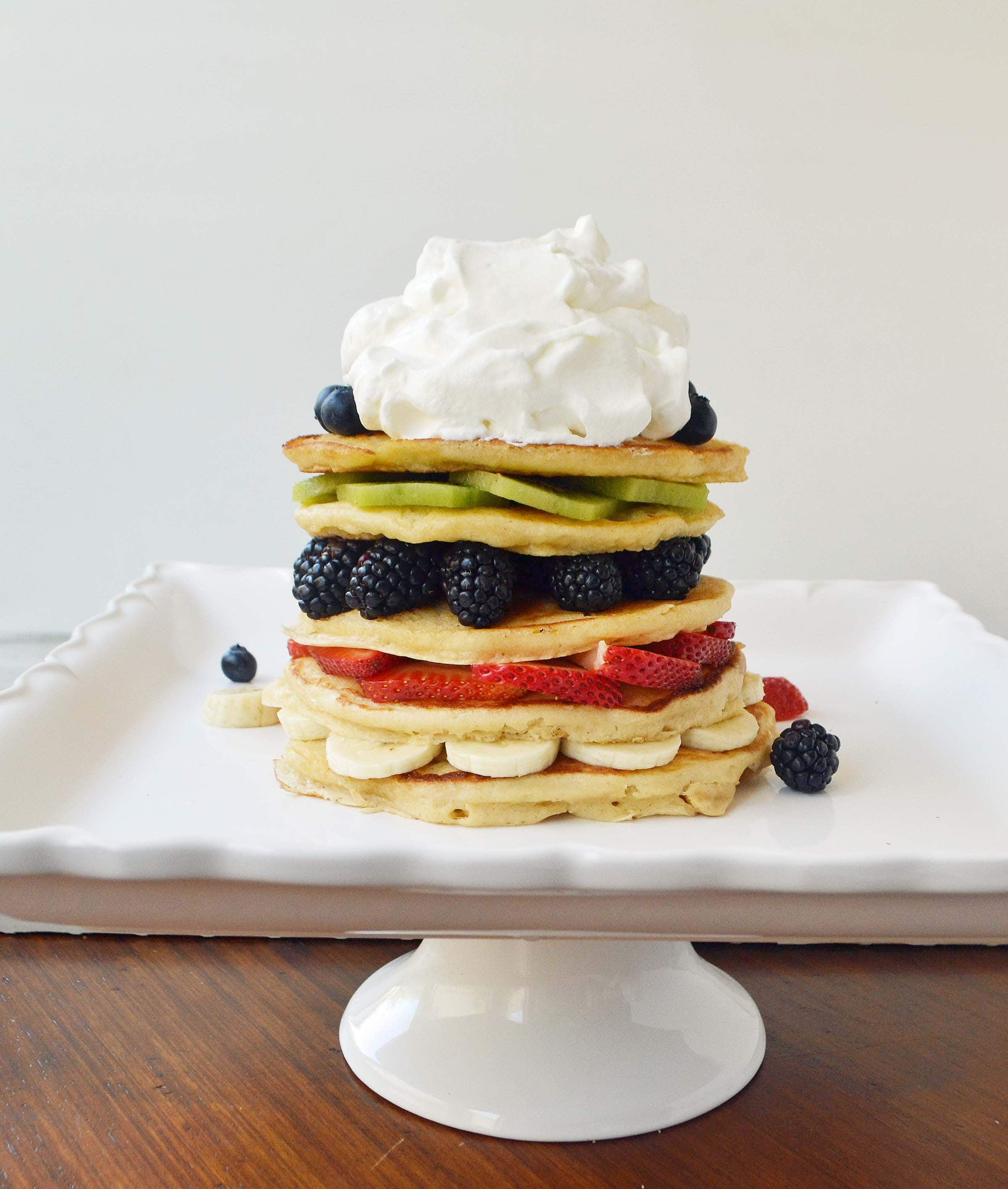 Fruit Pancake Stack with Coconut Syrup by Modern Honey I www.modernhoney.com