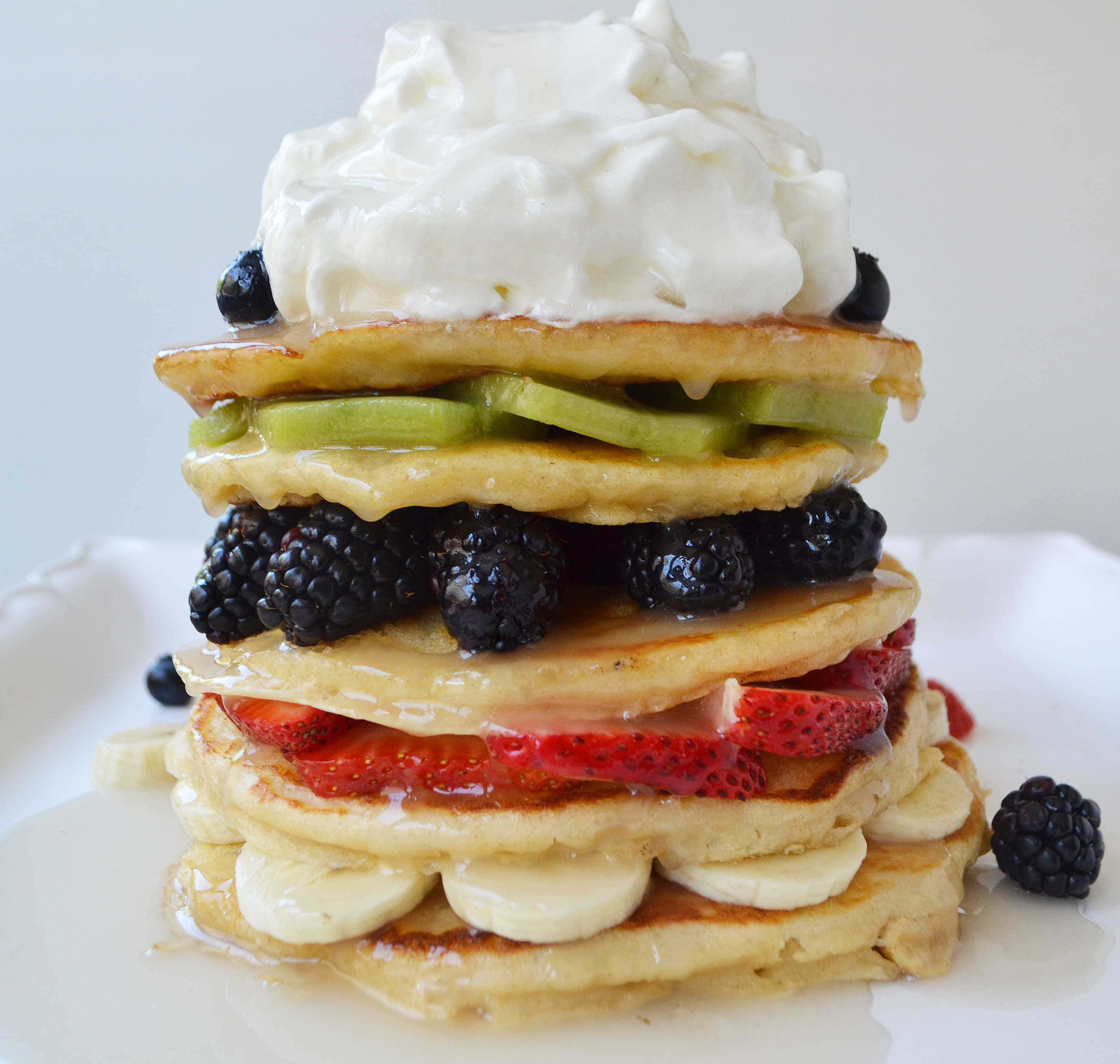 Fruit Pancake Stack with Coconut Syrup by Modern Honey l www.modernhoney.com