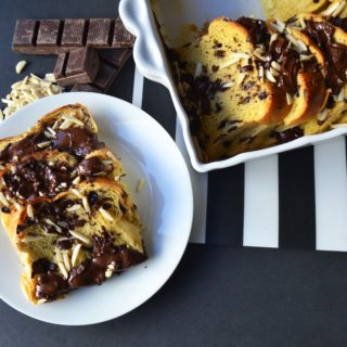 Chocolate Almond Brioche Baked French Toast