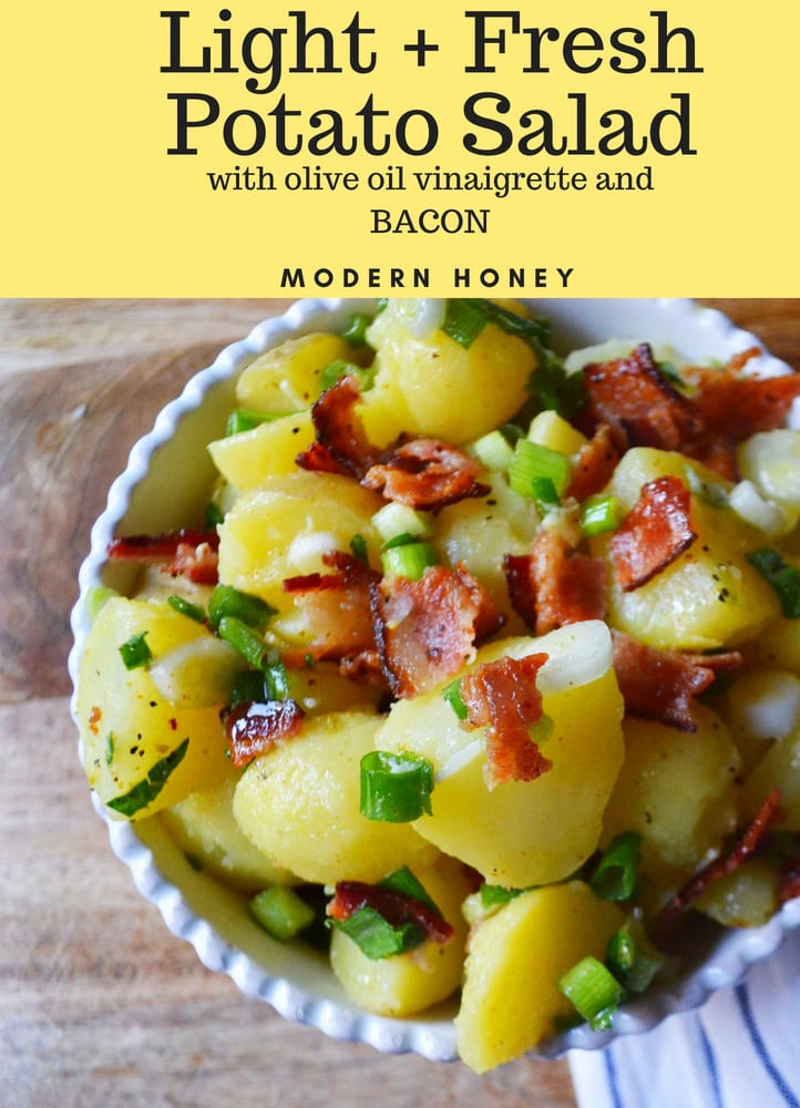 Light and Fresh German Potato Salad made with olive oil and vinegar dressing and topped with bacon. A mayo-free potato salad recipe. www.modernhoney.com #potatosalad #germanpotatosalad