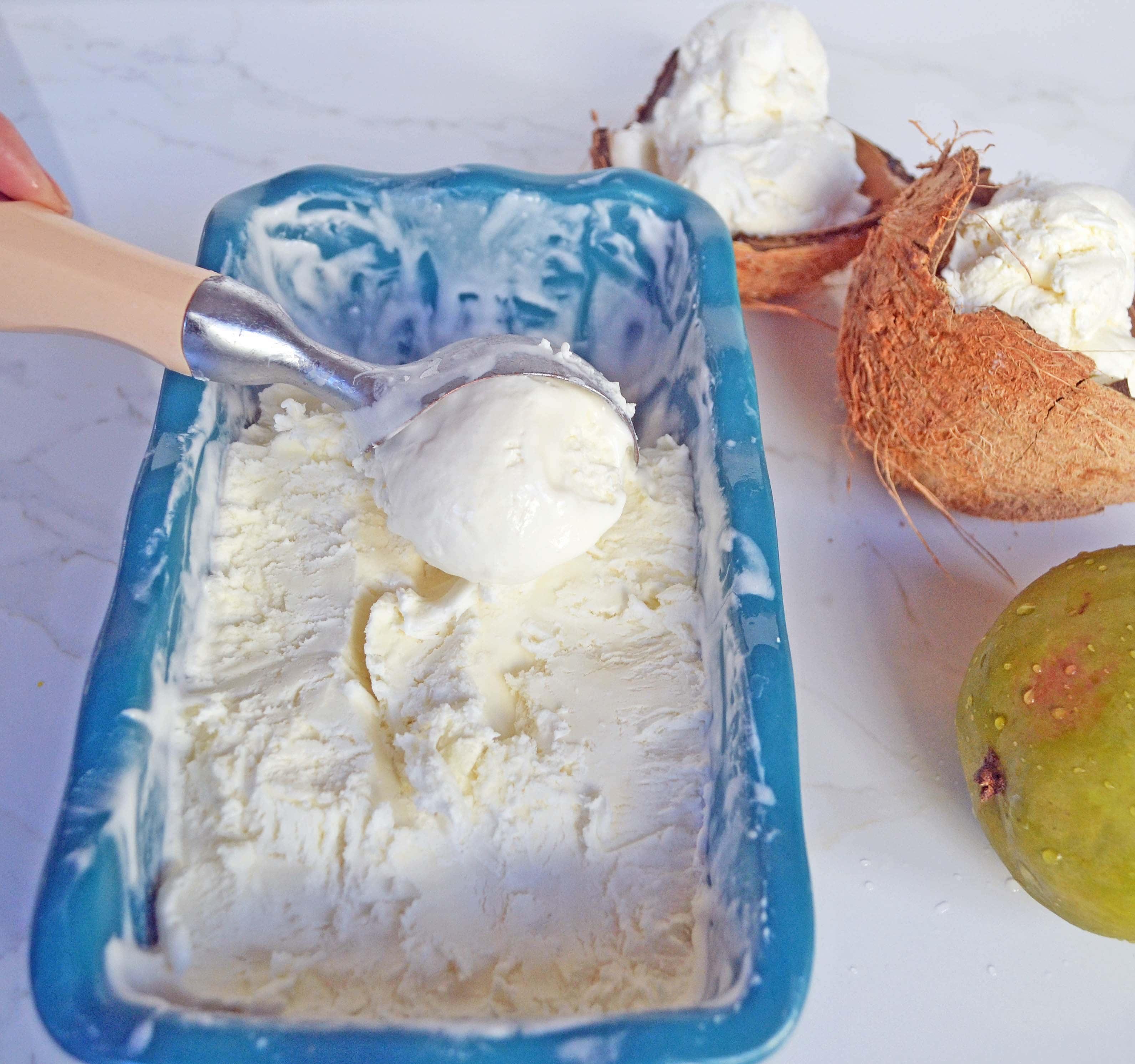 No-Churn Coconut Ice Cream with Fresh Mango by Modern Honey l www.modernhoney.com