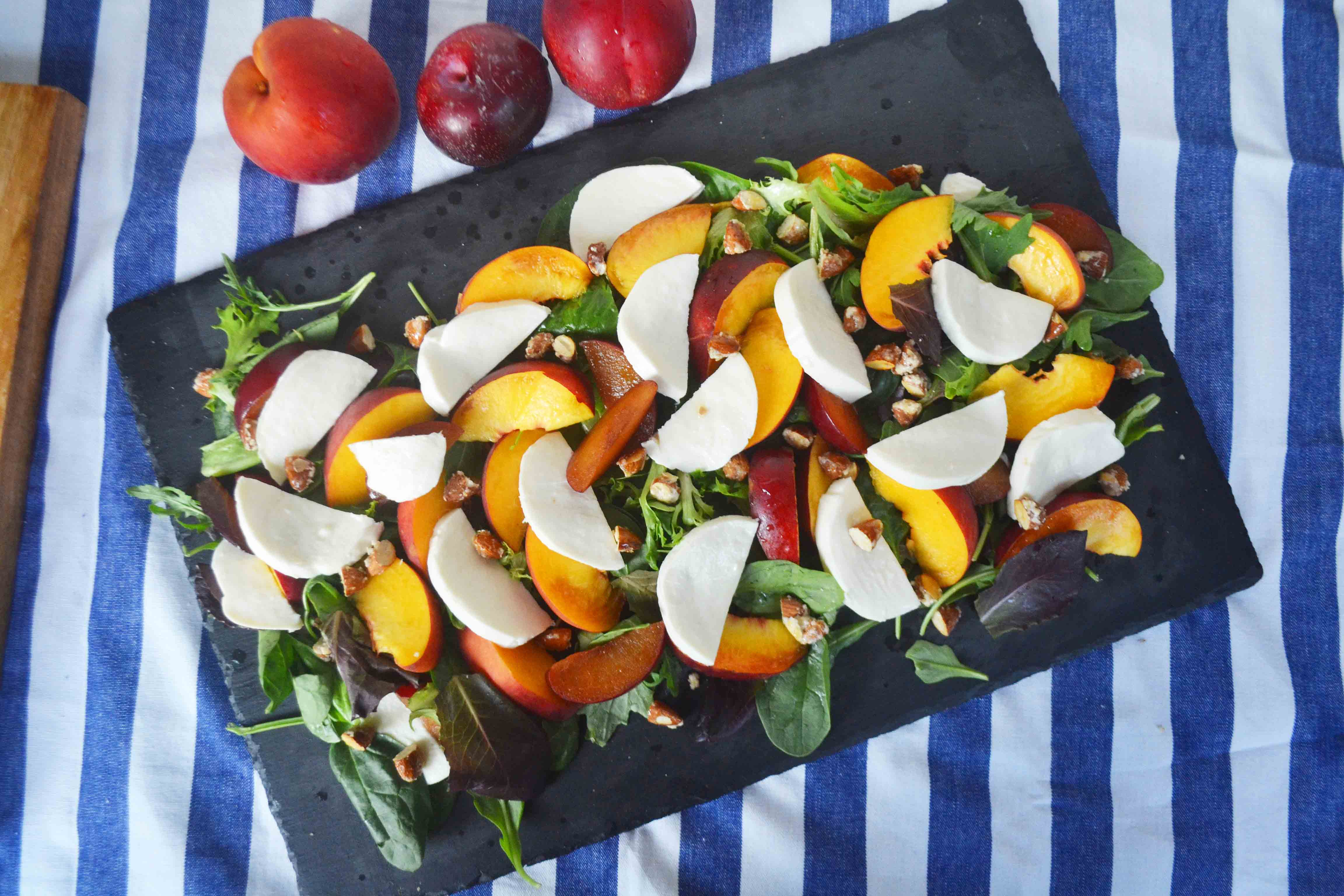 mer Peach Fresh Mozzarella Salad by Modern Honey l www.modernhoney.com