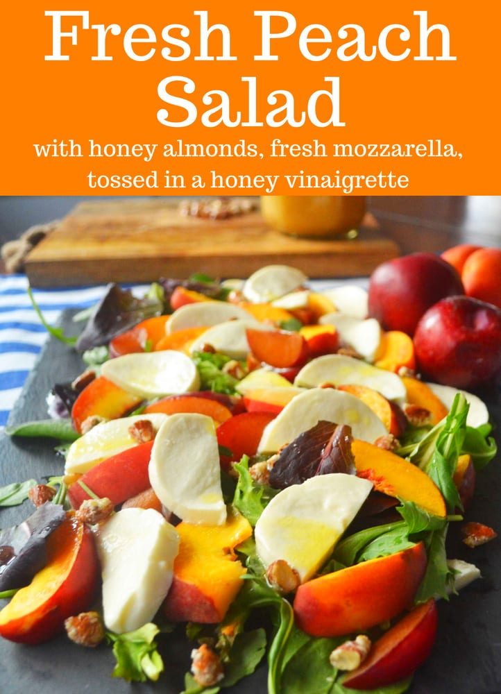 Fresh Peach Mozzarella Salad. Stone Fruit Salad with Honey Almonds, Fresh Mozzarella, tossed in a honey vinaigrette. The perfect fresh summer salad! www.modernhoney.com #peach #peachsalad #peaches #peachrecipes