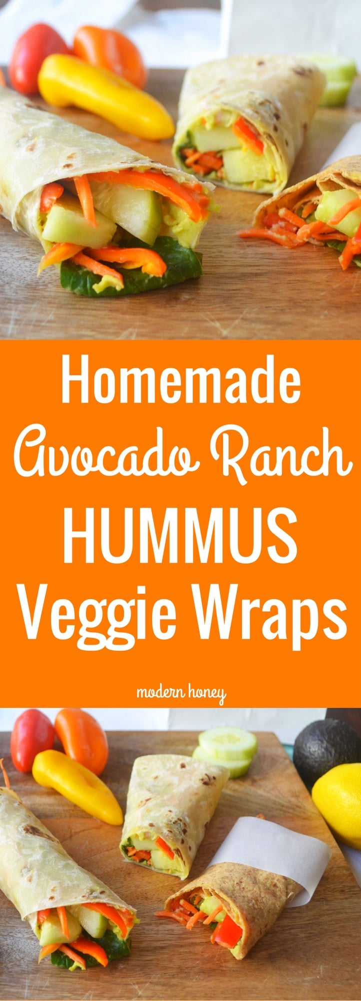 Homemade Avocado Ranch Hummus Veggie Wraps. A healthy school lunch that kids will actually eat! Homemade hummus is made with chickpeas, ranch dressing powder, lemon juice, avocado, and spices. It is spread on a healthy tortilla and rolled up with thinly sliced peppers, cucumbers, spinach, and shredded carrots. www.modernhoney.com