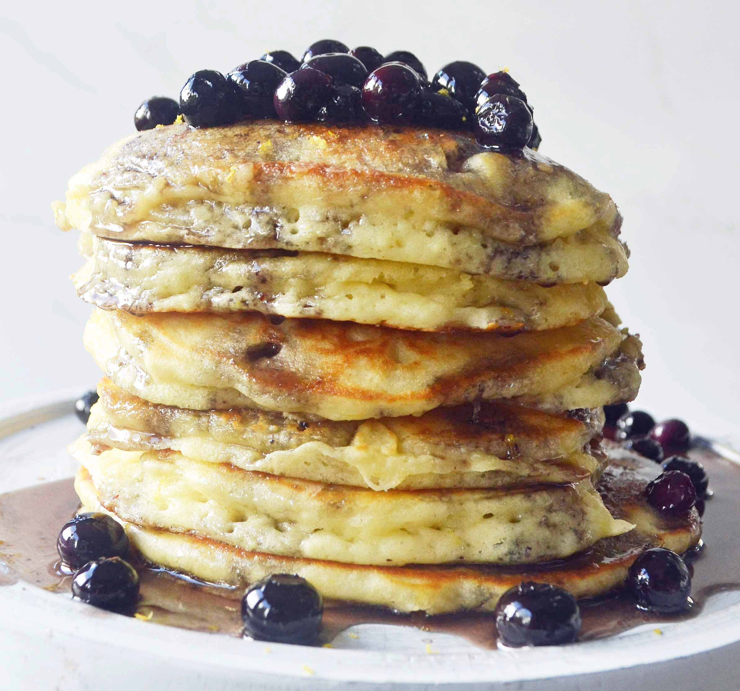 Sweet Cream Ricotta Pancakes with Berry Maple Syrup by Modern Honey l www.modernhoney.com
