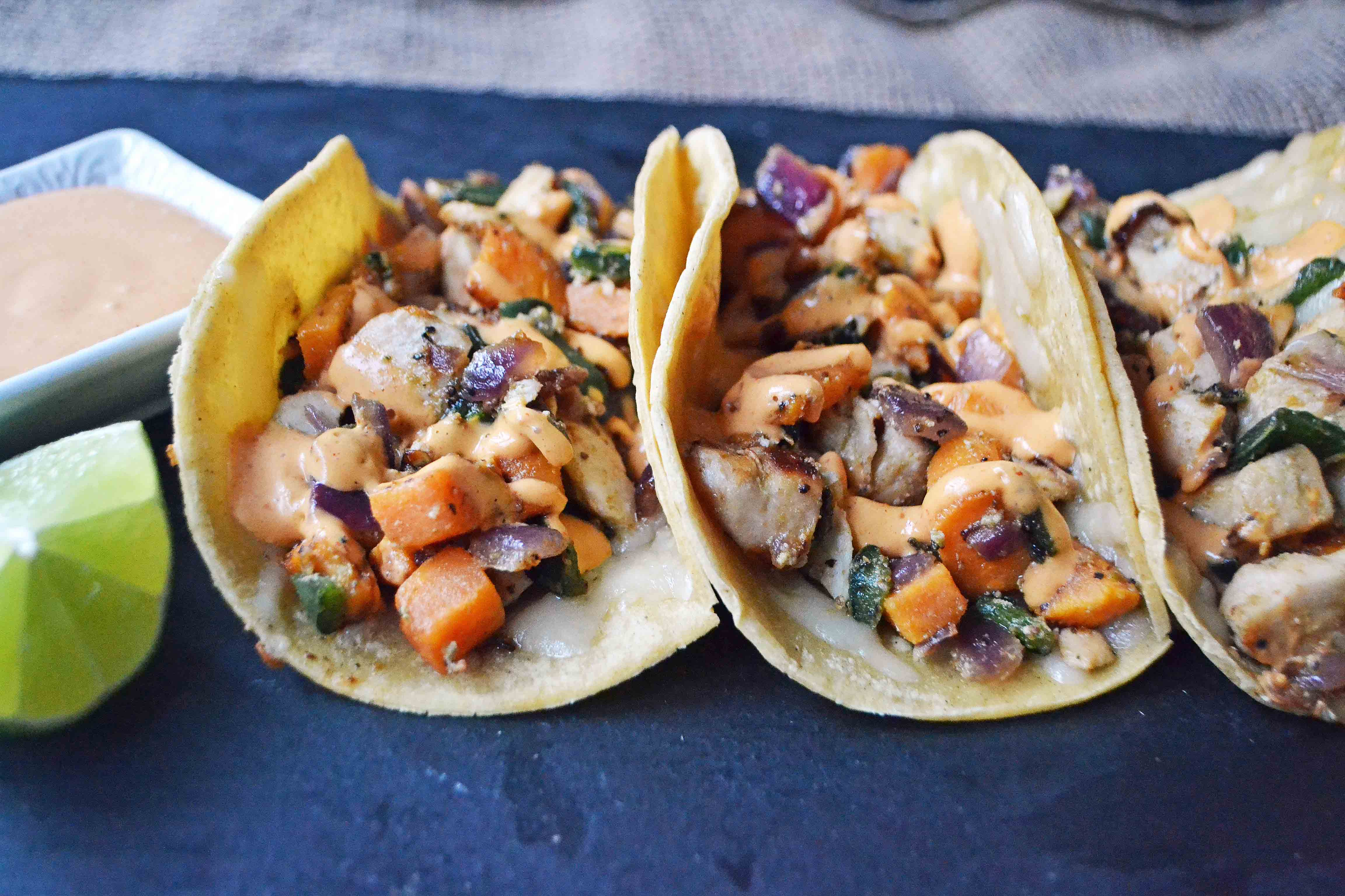 Chicken Poblano Sweet Potato Tacos. Gluten Free, Quick and Easy Dinner.