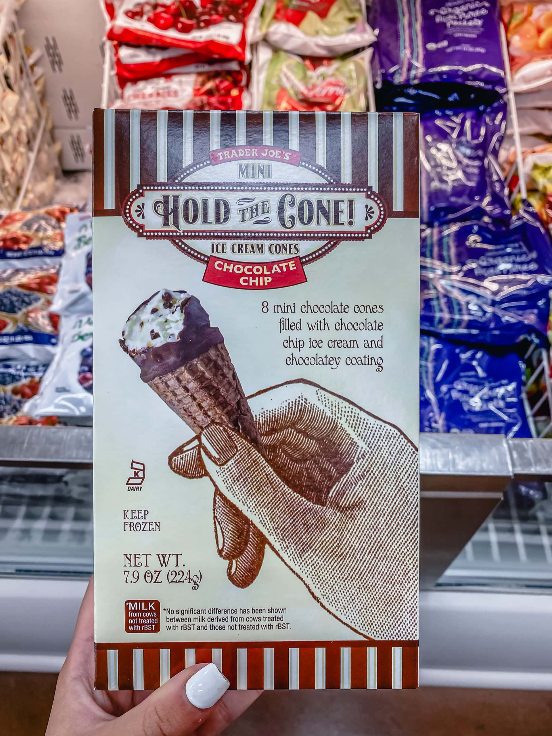 Mini Chocolate Chip Ice Cream Cones covered in chocolate from Trader Joe's. The Best Foods to Buy at Trader Joe's.