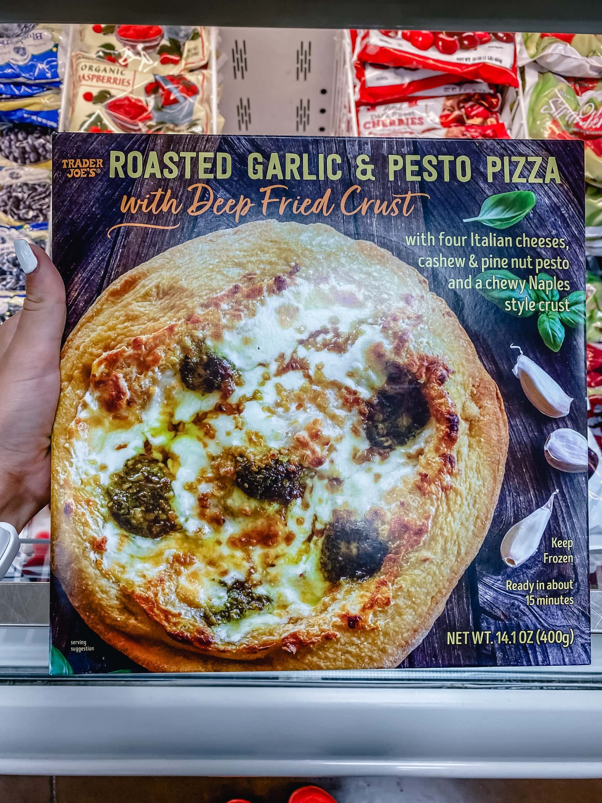 Roasted Garlic and Pesto Pizza with Deep Fried Crust from Trader Joe's. Best Foods to Buy from Trader Joe's.