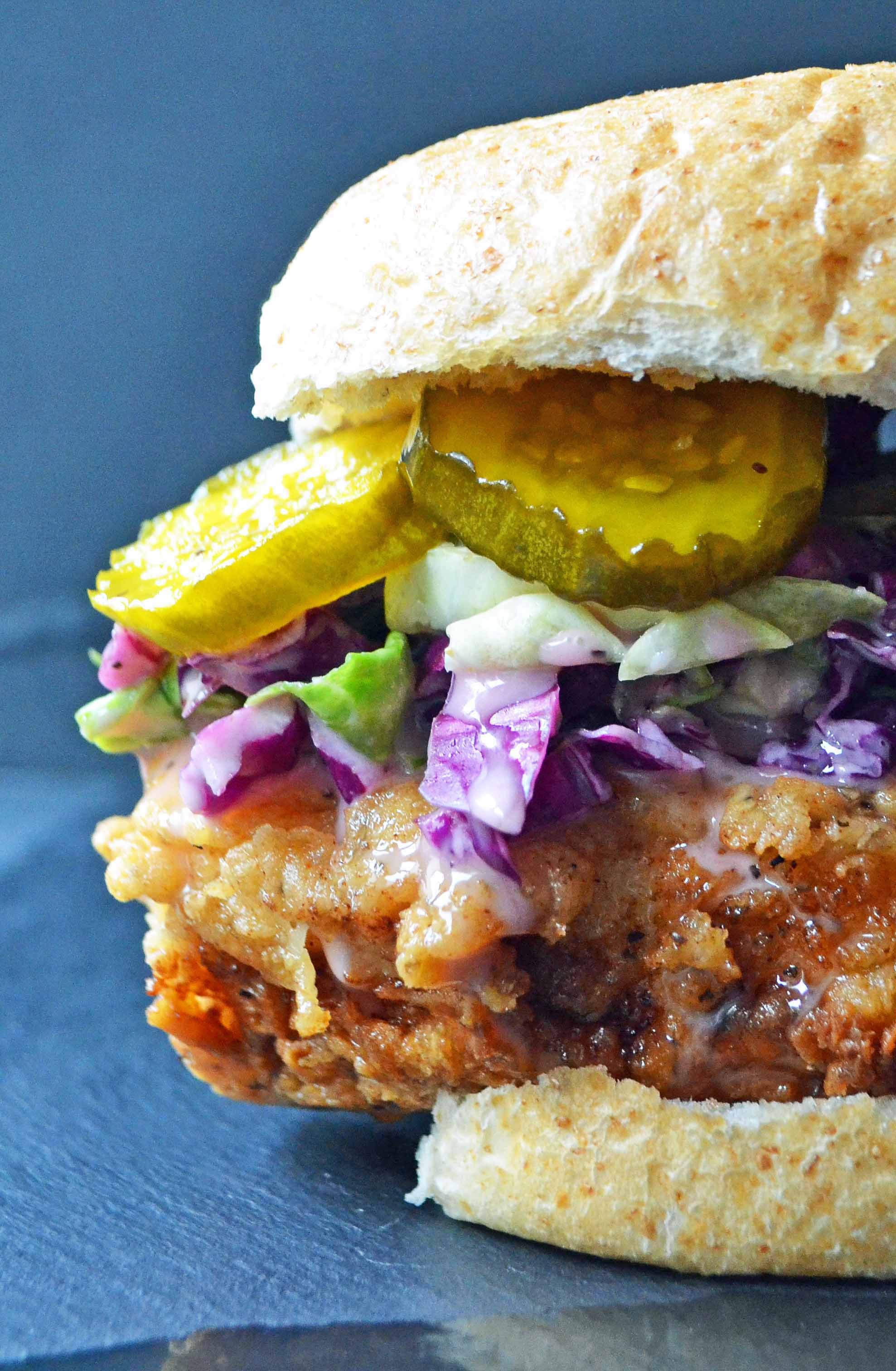 Bubby's Buttermilk Fried Chicken Sandwich with Creamy Coleslaw and Spicy Pickles