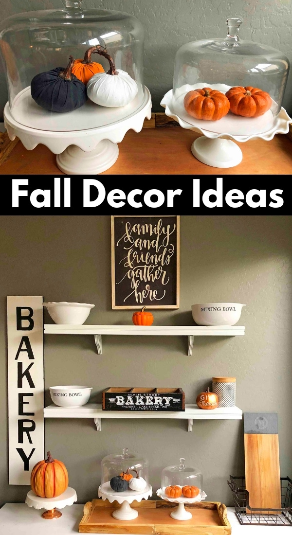 Fall Decor Ideas. How to decorate for Fall on a budget. Fall and Halloween decor. www.modernhoney.com #falldecor #falldecorations #halloweendecor #halloweendecorations #pumpkins #kitchenfalldecor