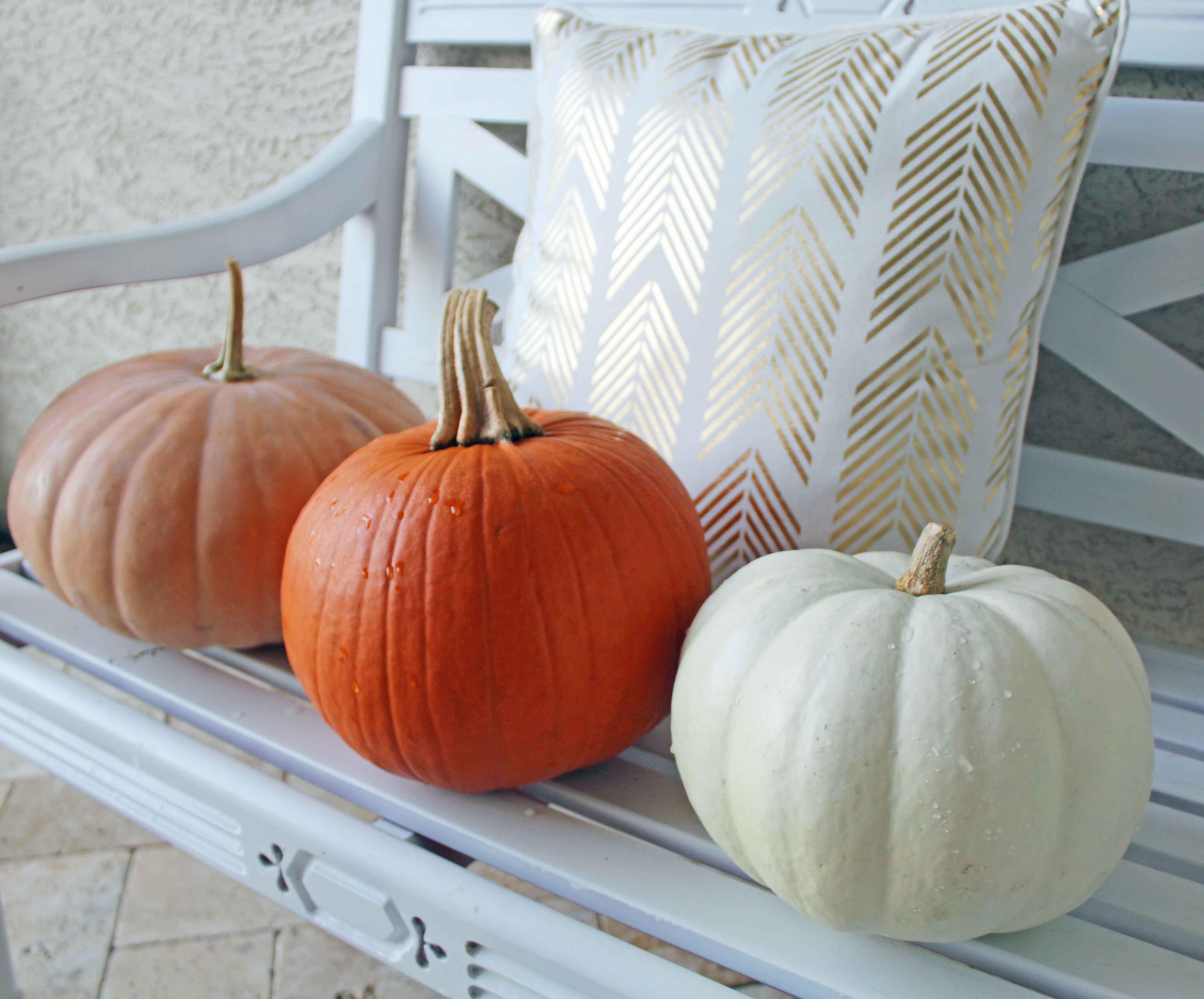 Fall Decor Ideas by Modern Honey. White, Peach, and Orange Pumpkins