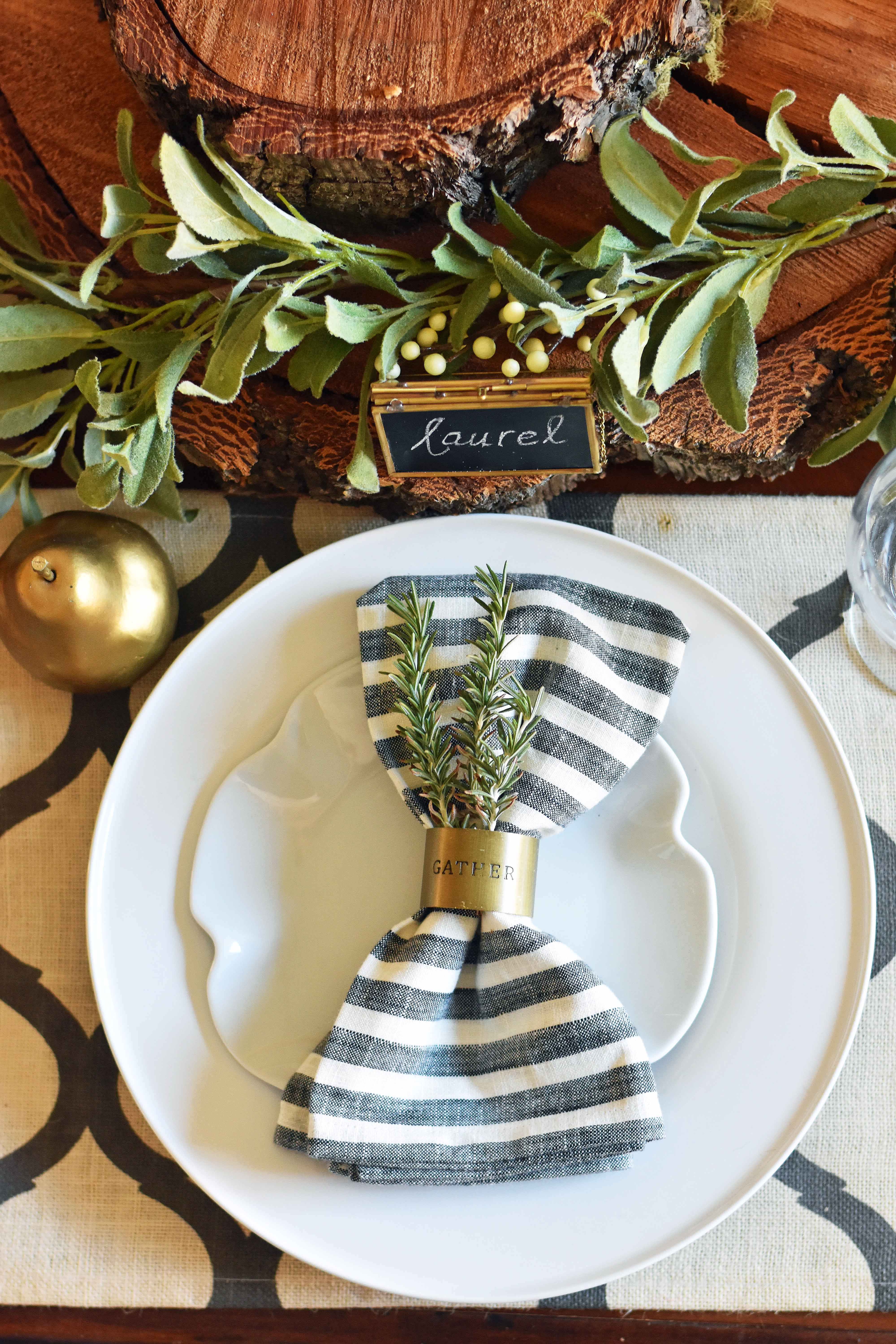 Magnolia Hearth and Hand Collection from Target. A natural holiday tablescape dining room table setting. Fall and holiday decor ideas. Farmhouse tablescape table settings. www.modernhoney.com