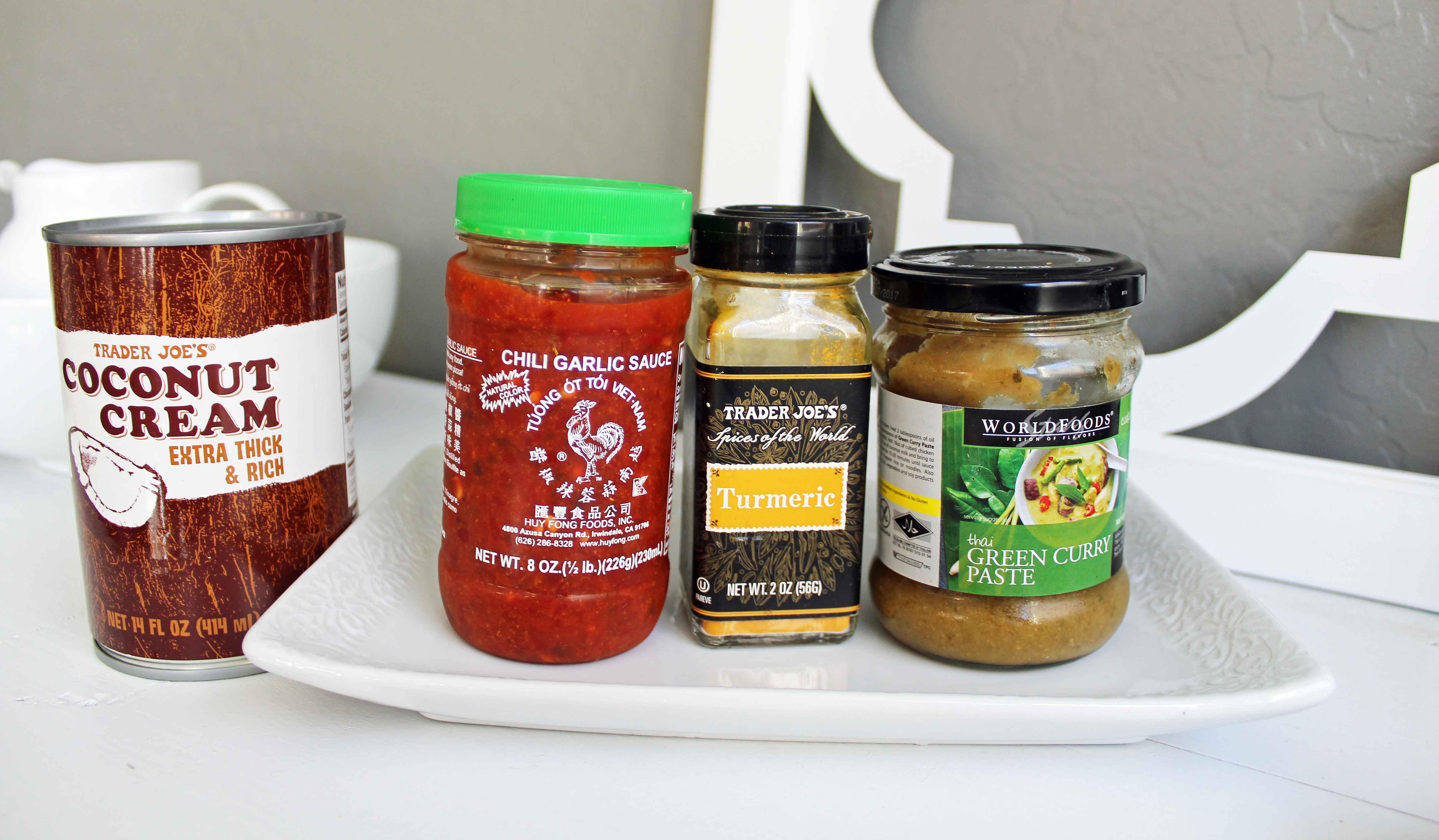 Green Monster Chicken Curry Bowls Ingredients -- Coconut Milk, Tumeric, Chili Garlic Sauce, Green Curry Paste