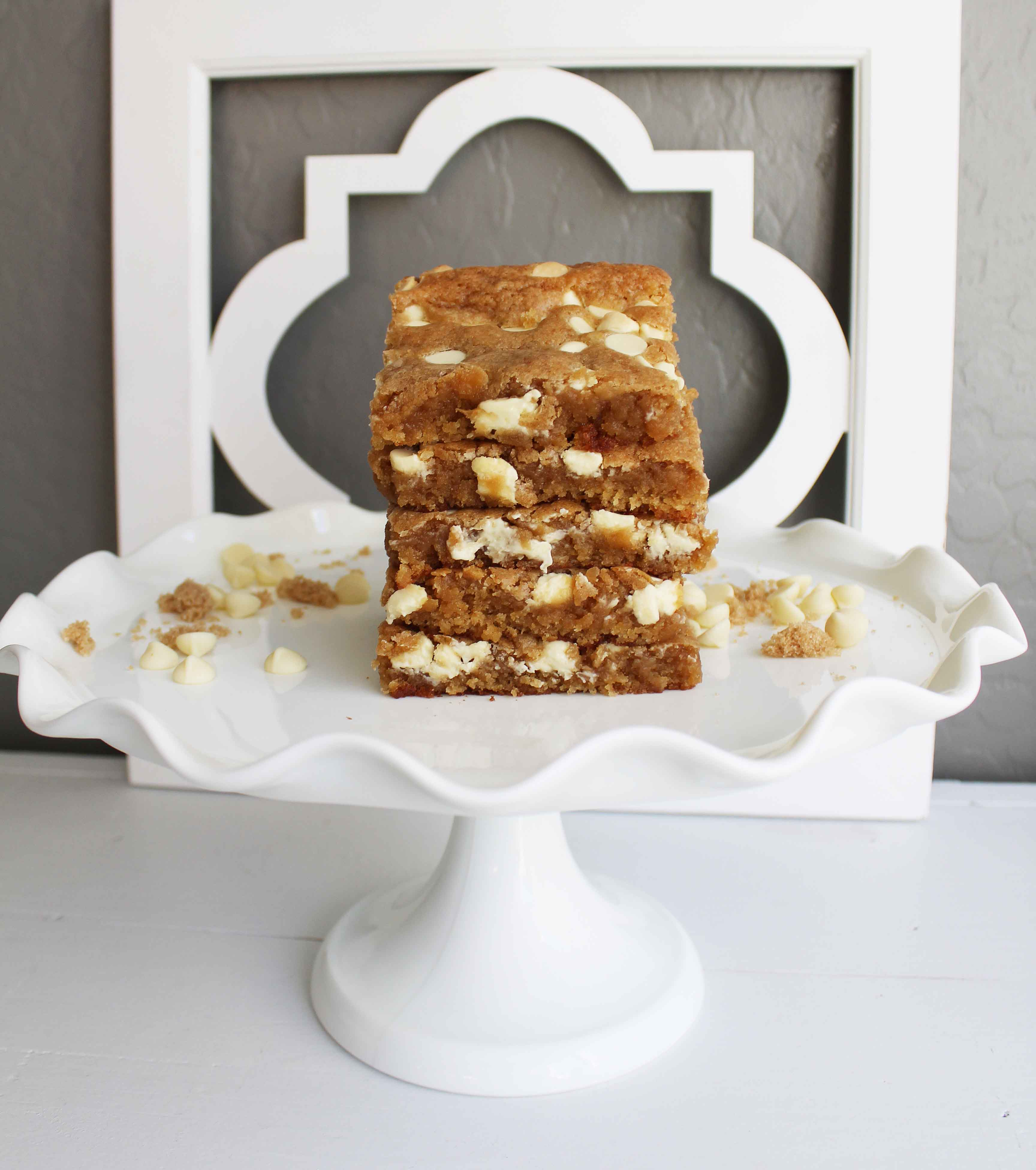 Browned Butter White Chocolate Blondies by Modern Honey. The best blondies recipe out there!