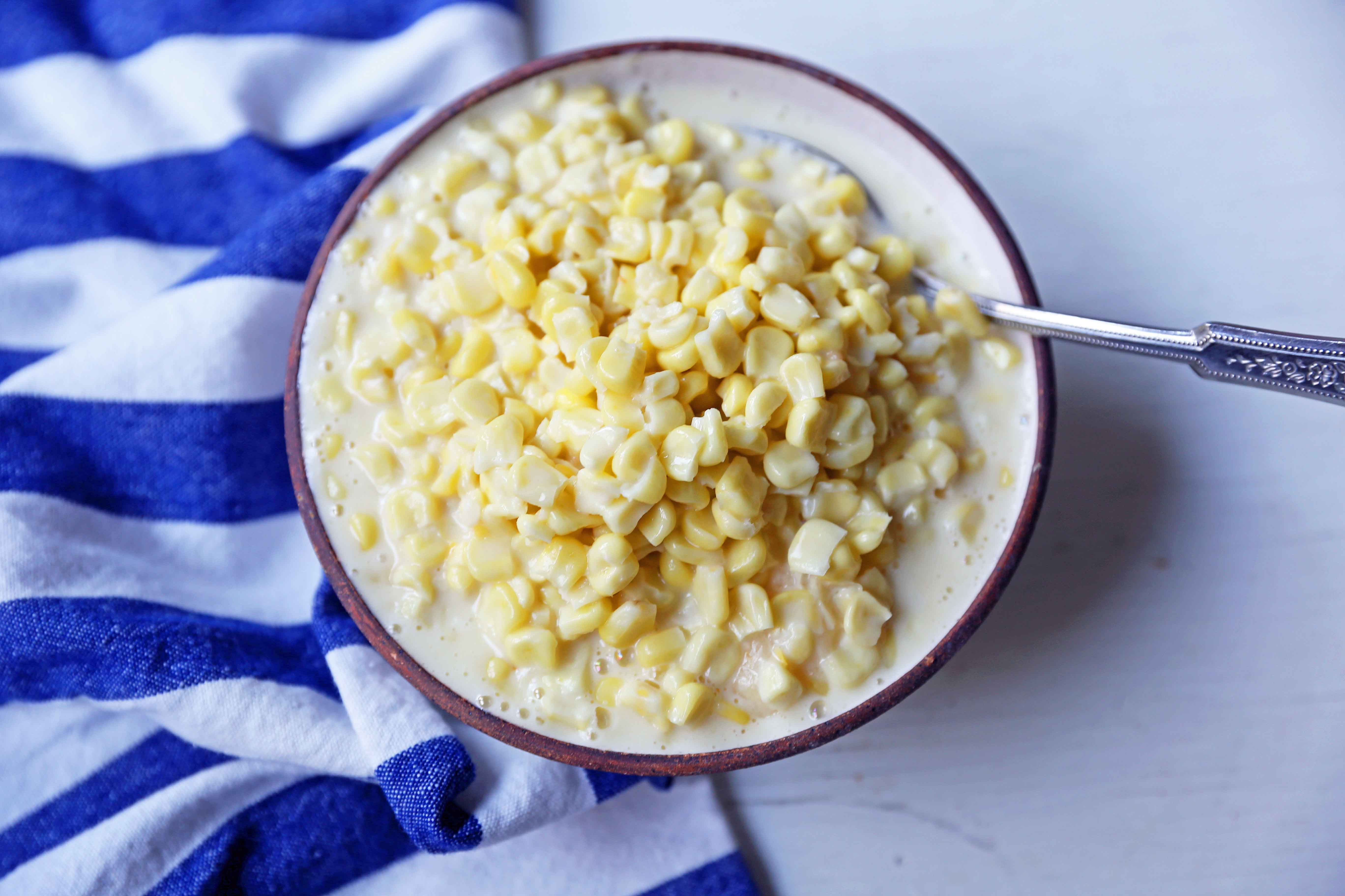 Creamed Corn Recipe. The best creamed corn using heavy cream, parmesan cheese, butter, and corn. The perfect creamed corn recipe! www.modernhoney.com #creamedcorn #creamedcornrecipe