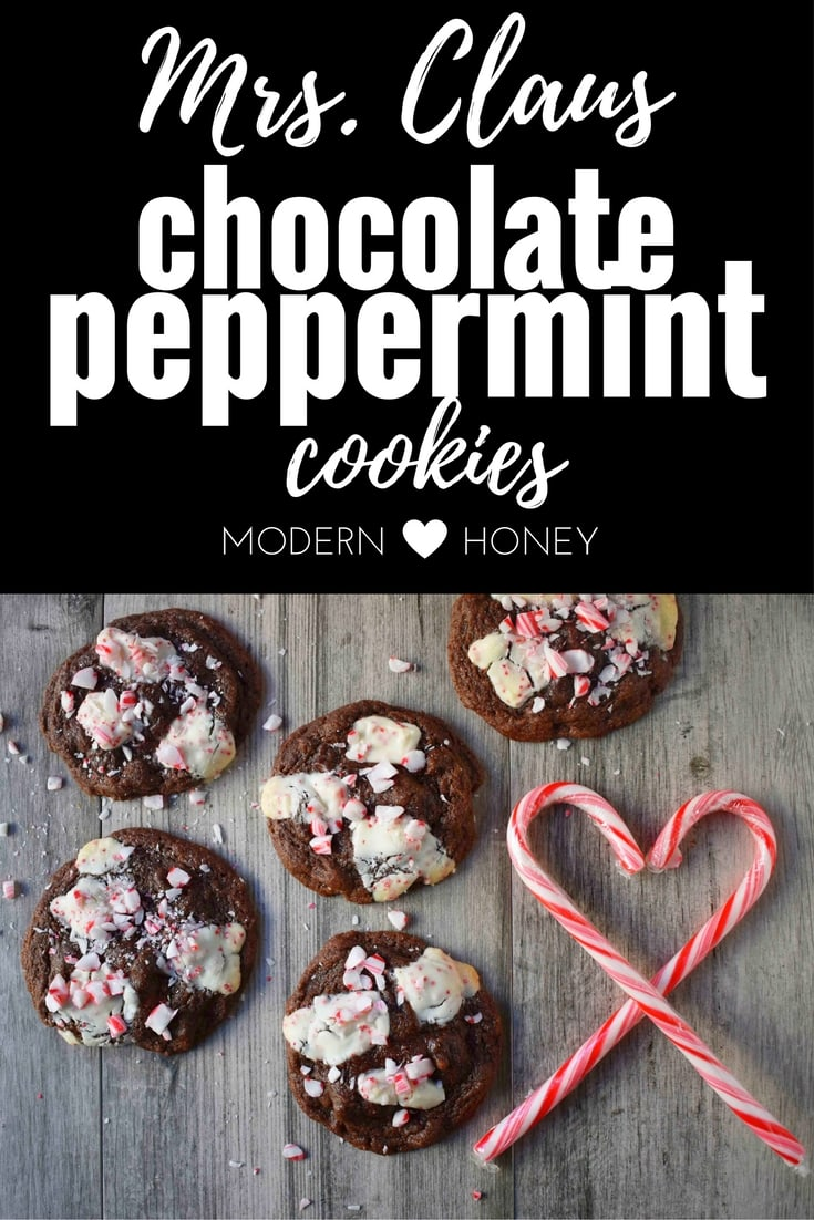 Mrs. Claus Chocolate Peppermint Cookies by Modern Honey. Rich chocolate chunks cookies with peppermint bark and candy canes. The most popular Christmas cookie!