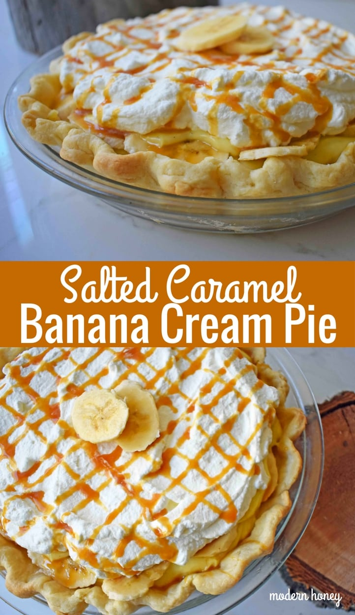 Salted Caramel Banana Cream Pie. Rich vanilla custard pie topped with fresh bananas, in a buttery flaky crust. Fresh whipped cream and salted caramel top this banana cream pie. www.modernhoney.com
