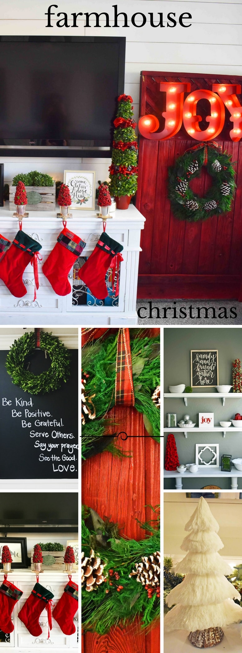 Farmhouse Christmas Decor inspired by Fixer Upper and Joanna Gaines. Rustic Christmas Charm Decor.
