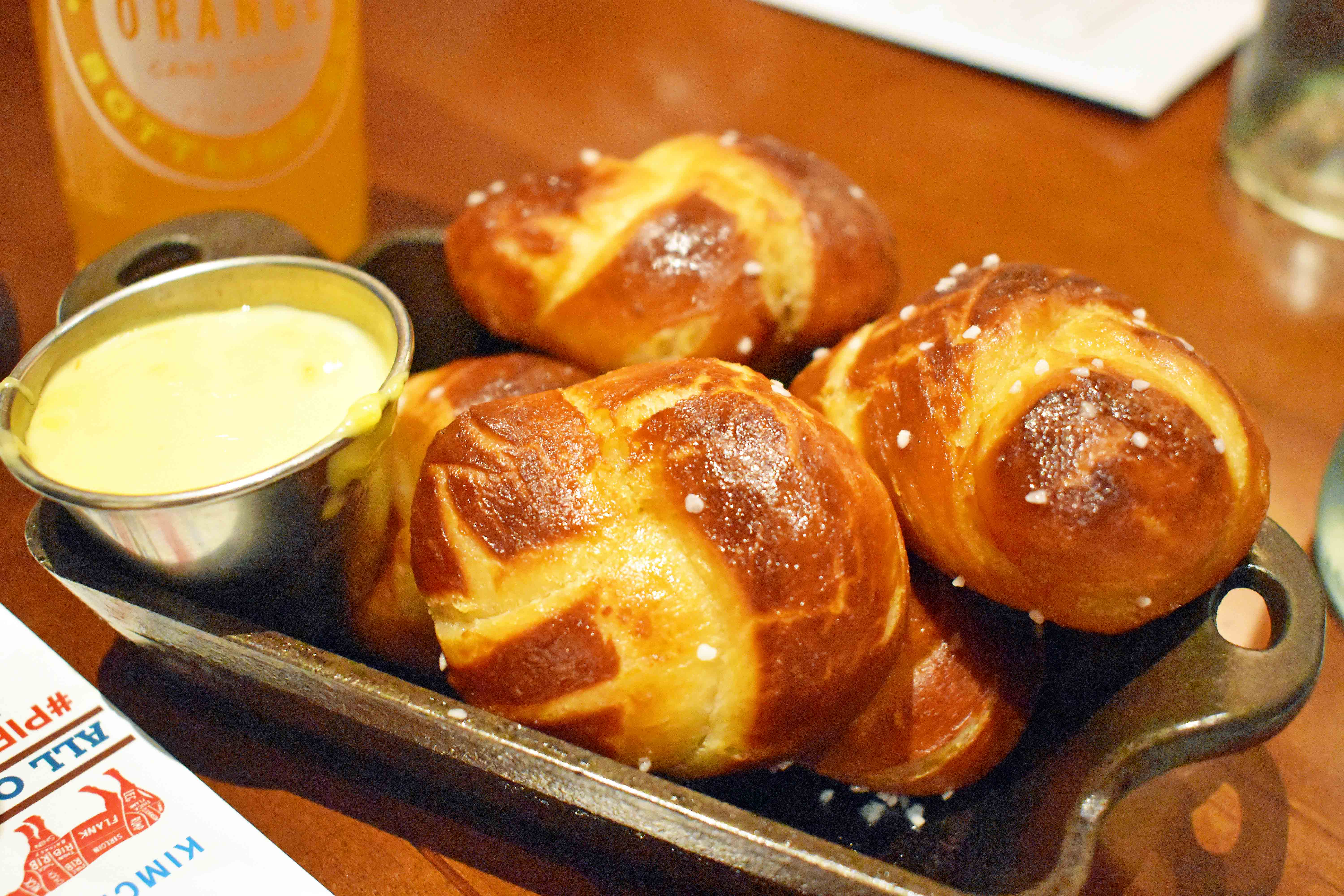 Arizona Four Seasons Christmas and Homemade Hot Chocolate. Pretzel Rolls with Cheese Sauce at Proof Restaurant at Four Seasons Scottsdale Troon North.