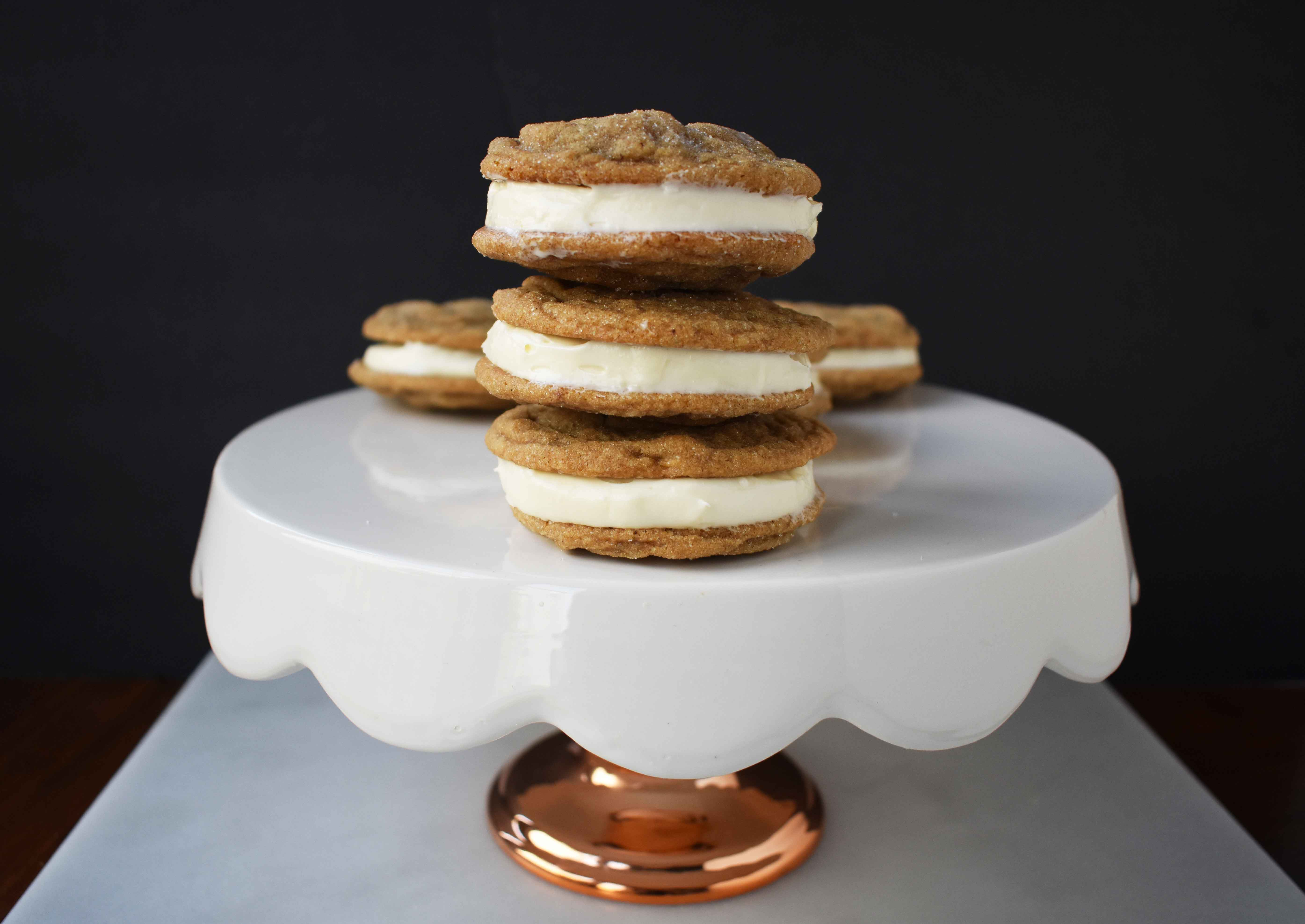 Gingersnap Oreos with Cream Cheese Filling. Soft Gingerbread Cookies filled with sweet cream cheese filling. A favorite holiday cookie!