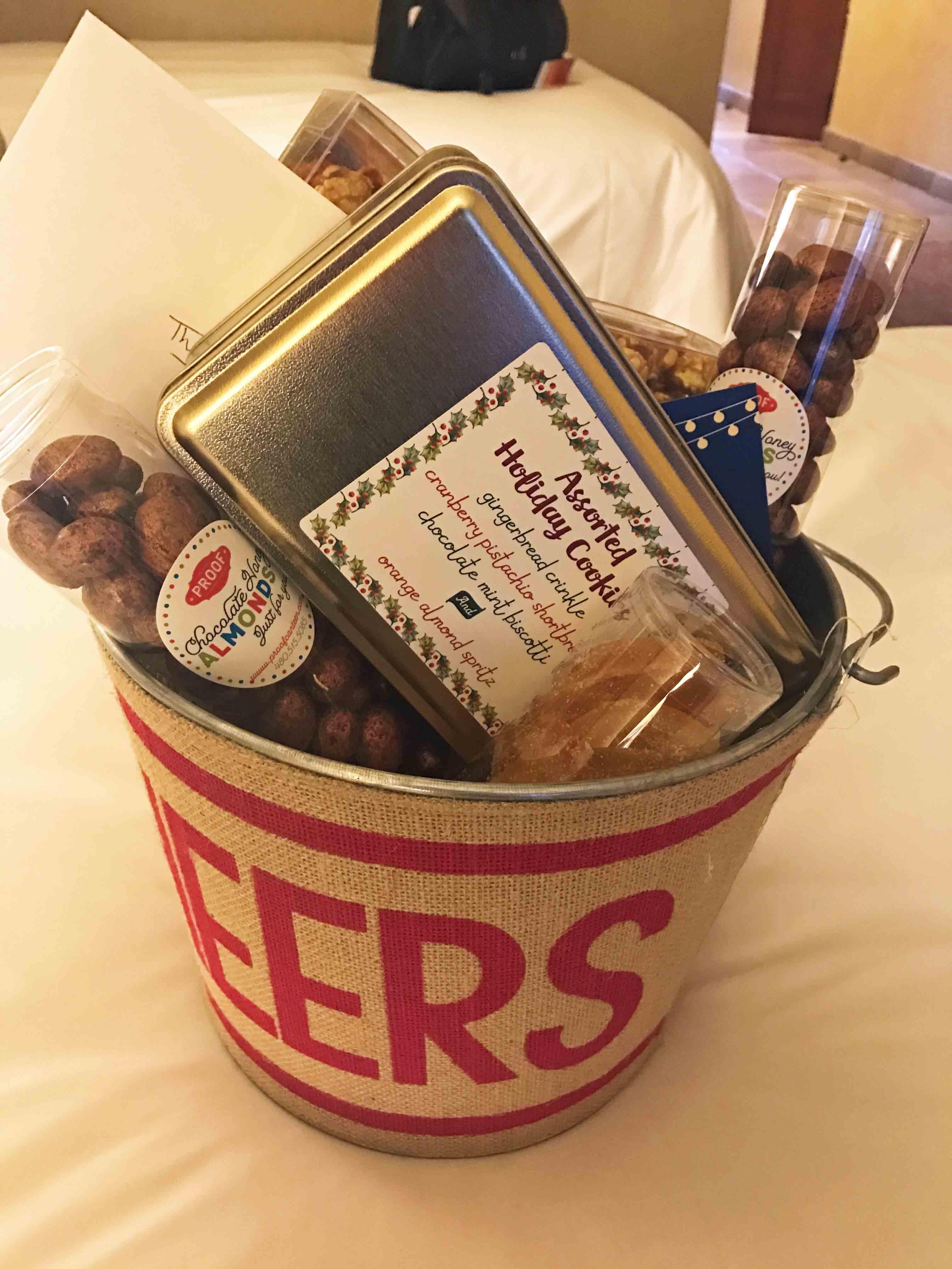Arizona Four Seasons Christms + Homemade Hot Chocolate. Welcoming basket full of goodies at Four Seasons Scottsdale.