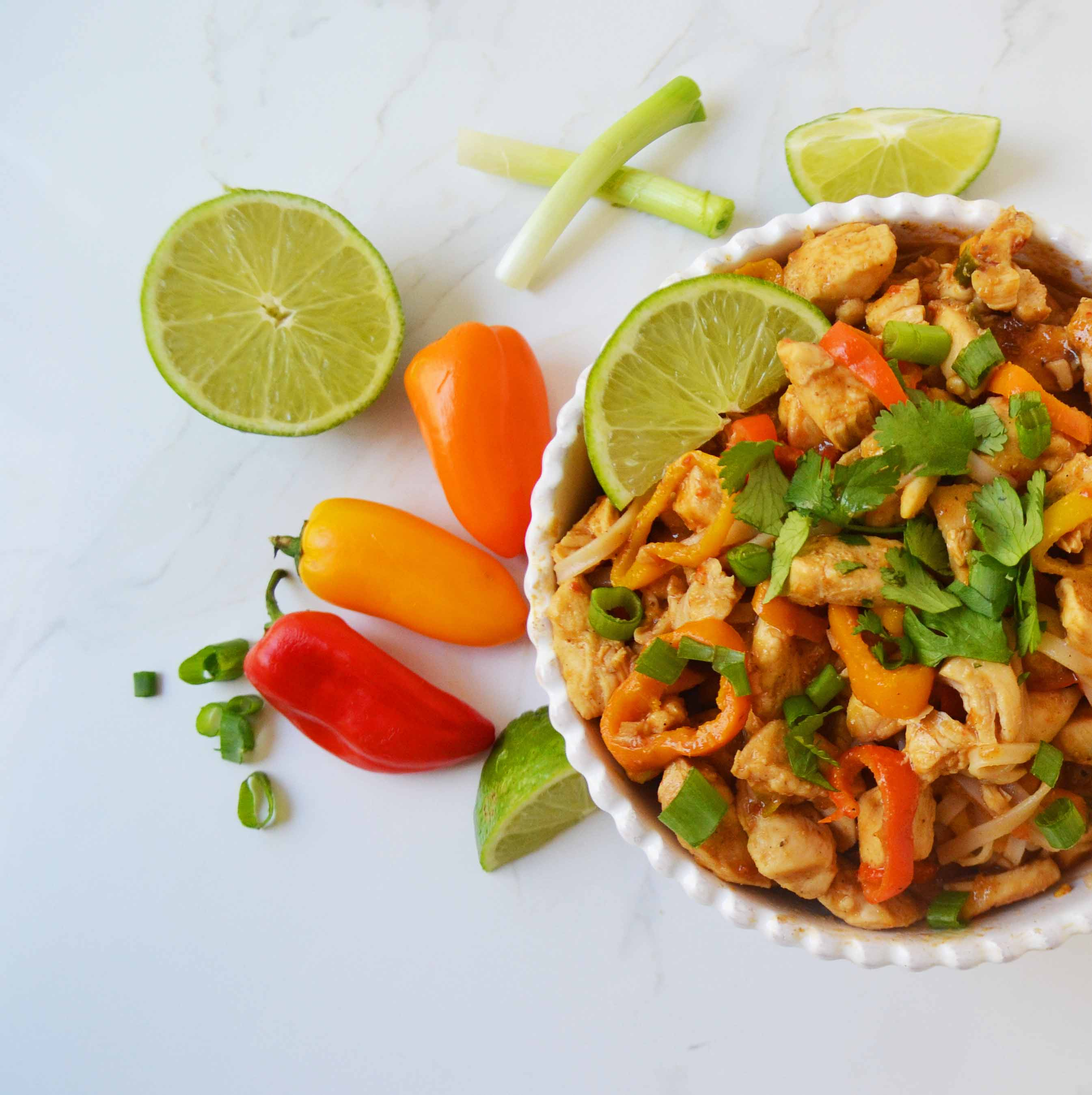 Thai Chicken Noodles by Modern Honey. Gluten-free and dairy-free dinner made in less than 30 minutes. www.modernhoney.com
