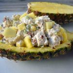 Healthy Tropical Chicken Salad made with lean chicken breast, greek yogurt, fresh pineapple, almonds, green onions, and spices. A high-protein lunch. www.modernhoney.com