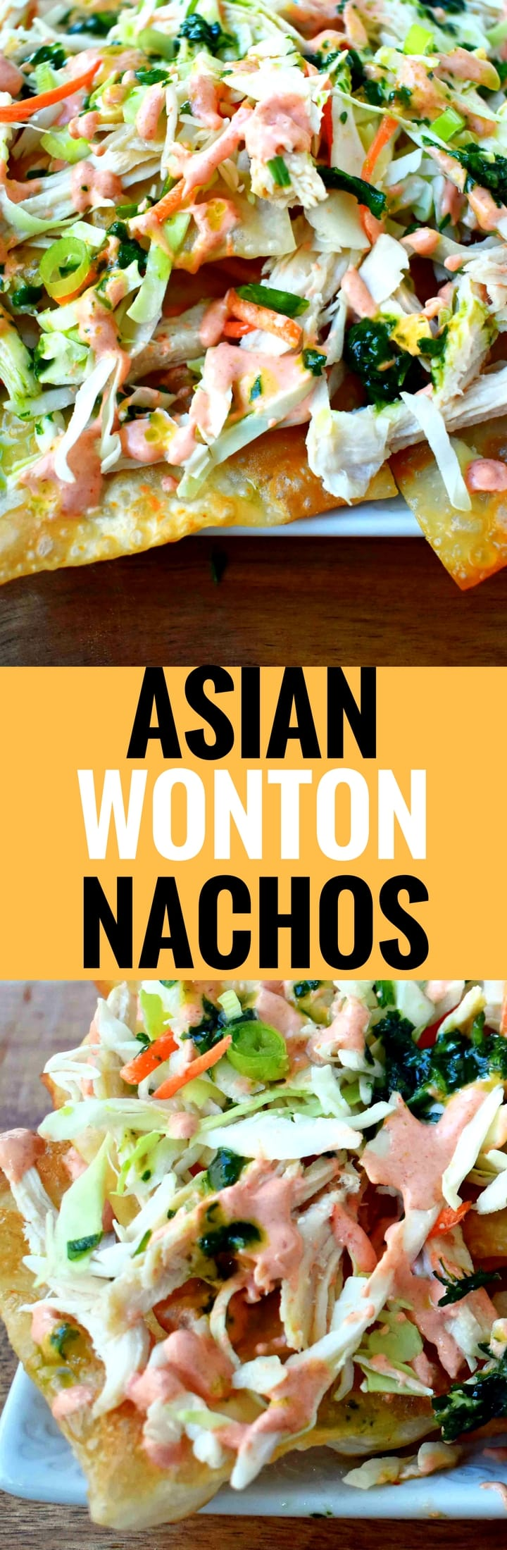 Asian Wonton Chicken Nachos made with homemade fried wontons, pulled chicken, sriracha cream sauce, cabbage mix, and a sweet cilantro lime sauce.  An Asian influenced appetizer using fried wontons instead of chips. Amazing! www.modernhoney.com