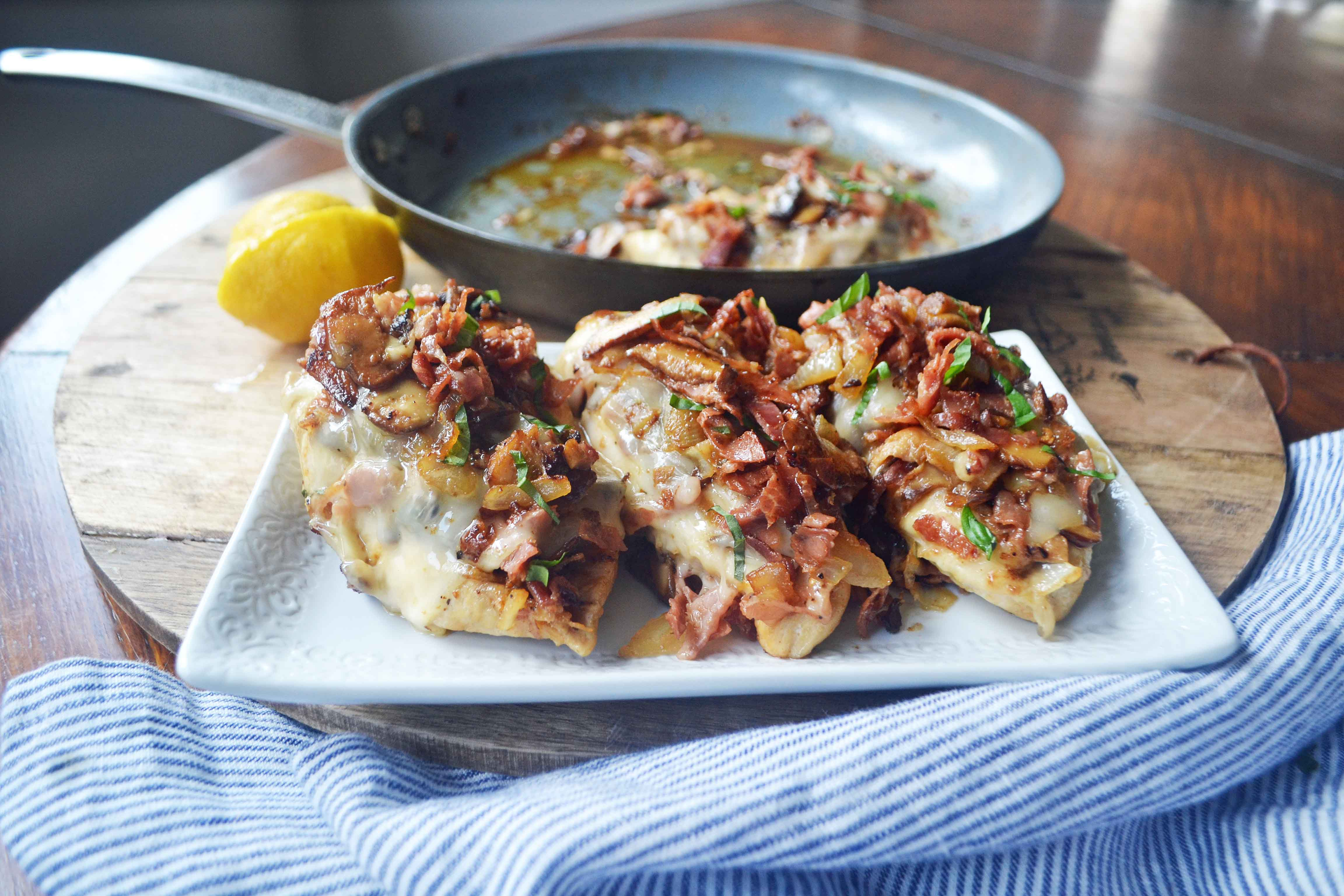 Chicken Rosa Maria by Modern Honey. Chicken breast sauteed with butter, onions, garlic, and mushrooms. Topped with crispy prosciutto and fontina cheese. www.modernhoney.com