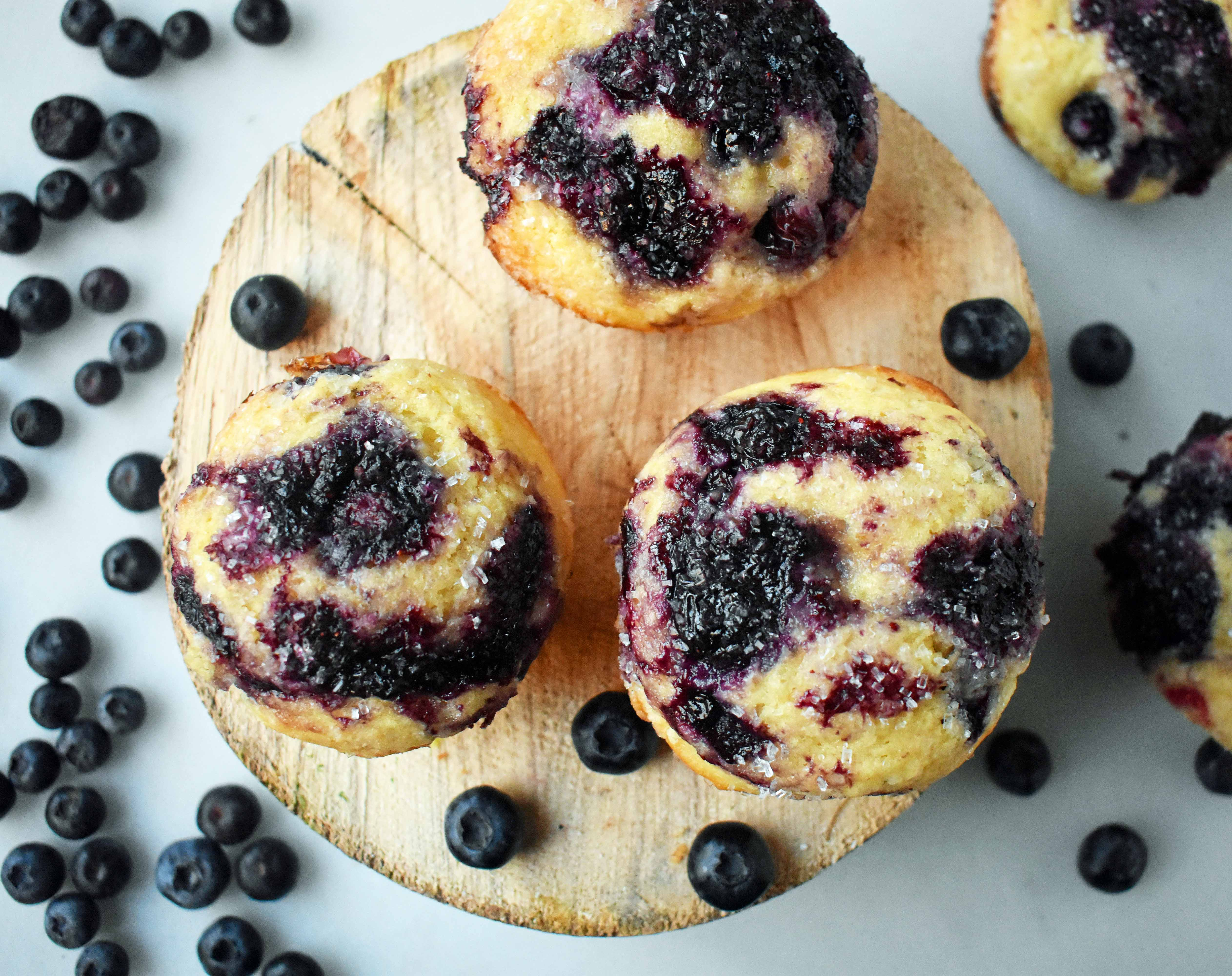 Best Blueberry Muffins by Modern Honey. The perfect blueberry muffin recipe using both butter and oil, buttermilk, and fresh blueberries.
