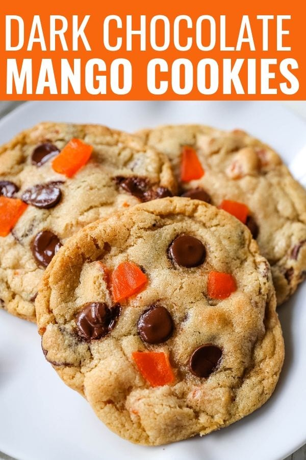 Dark Chocolate Mango Cookies Chewy citrus cookies with dark chocolate chunks and sweet dried mango. A rich tropical cookie!
